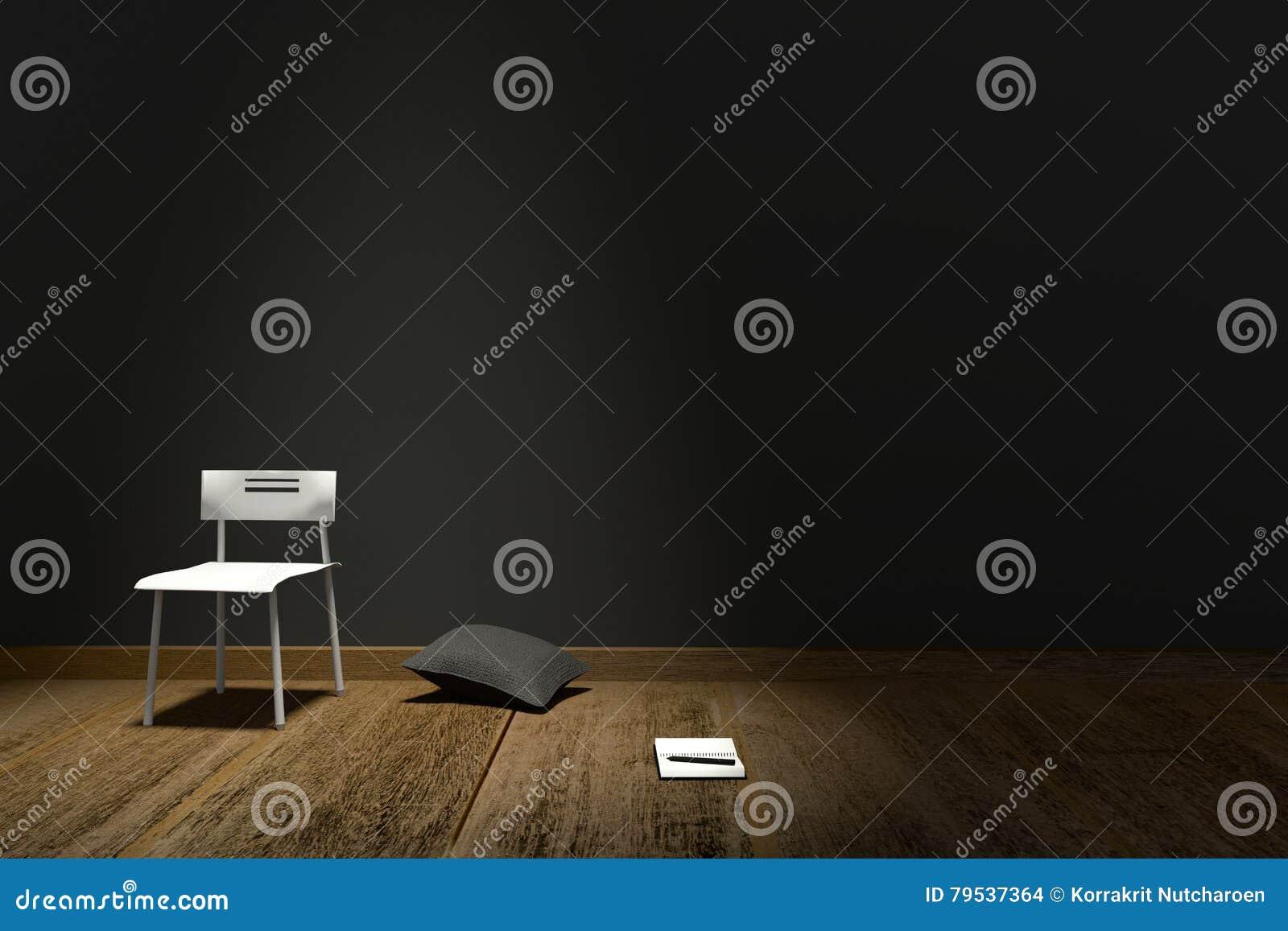 Rendu 3D : Illustration d intérieur moderne avec l oreiller de chaise et le carnet sur le fond noir mat de mur Étage en bois