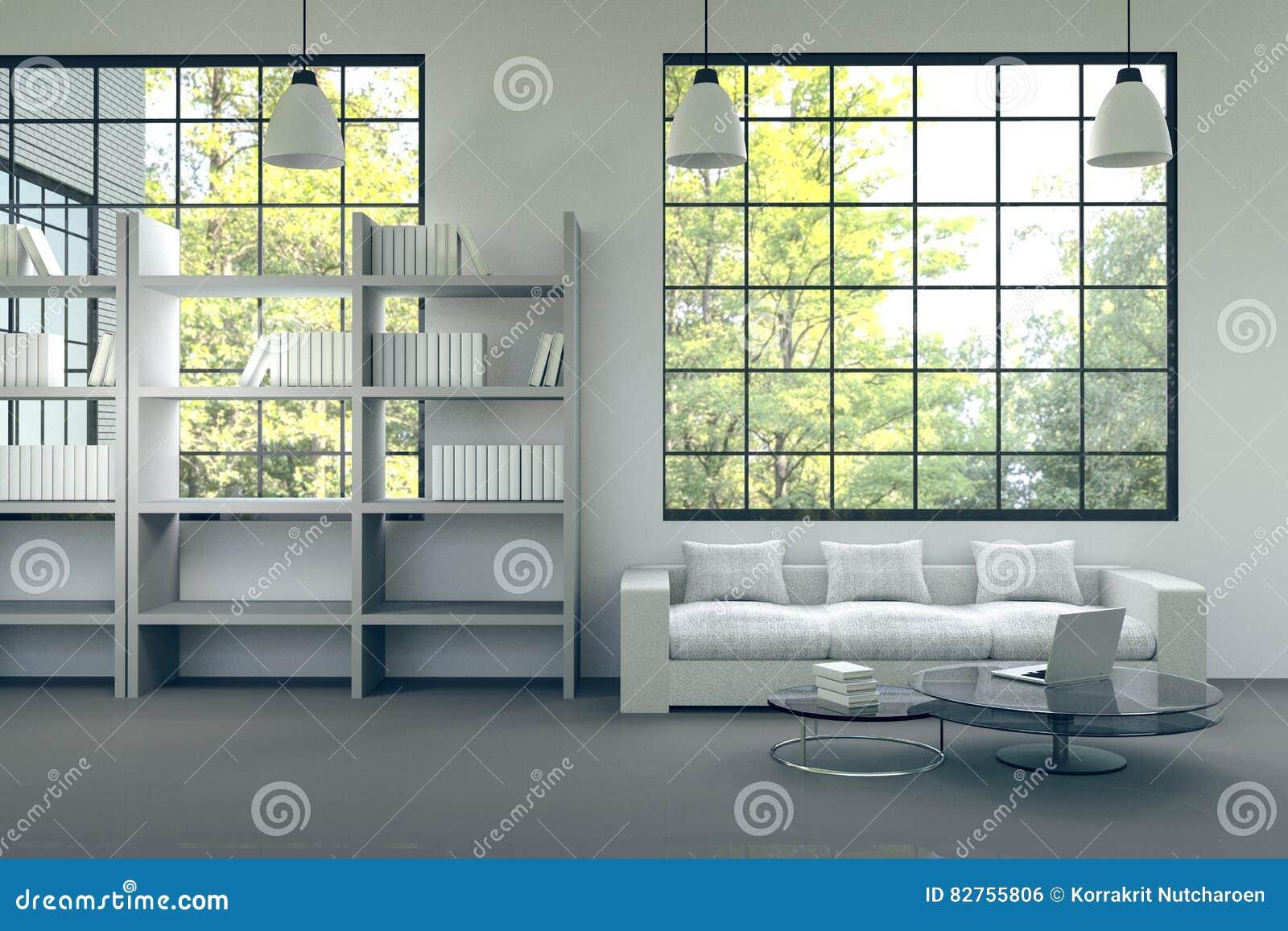 Rendu 3D : Illustration D\'intérieur Moderne De Maison Pièce De Salon ...