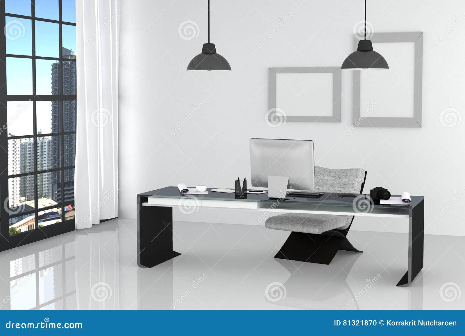 Rendu d illustration de bureau blanc intérieur moderne de