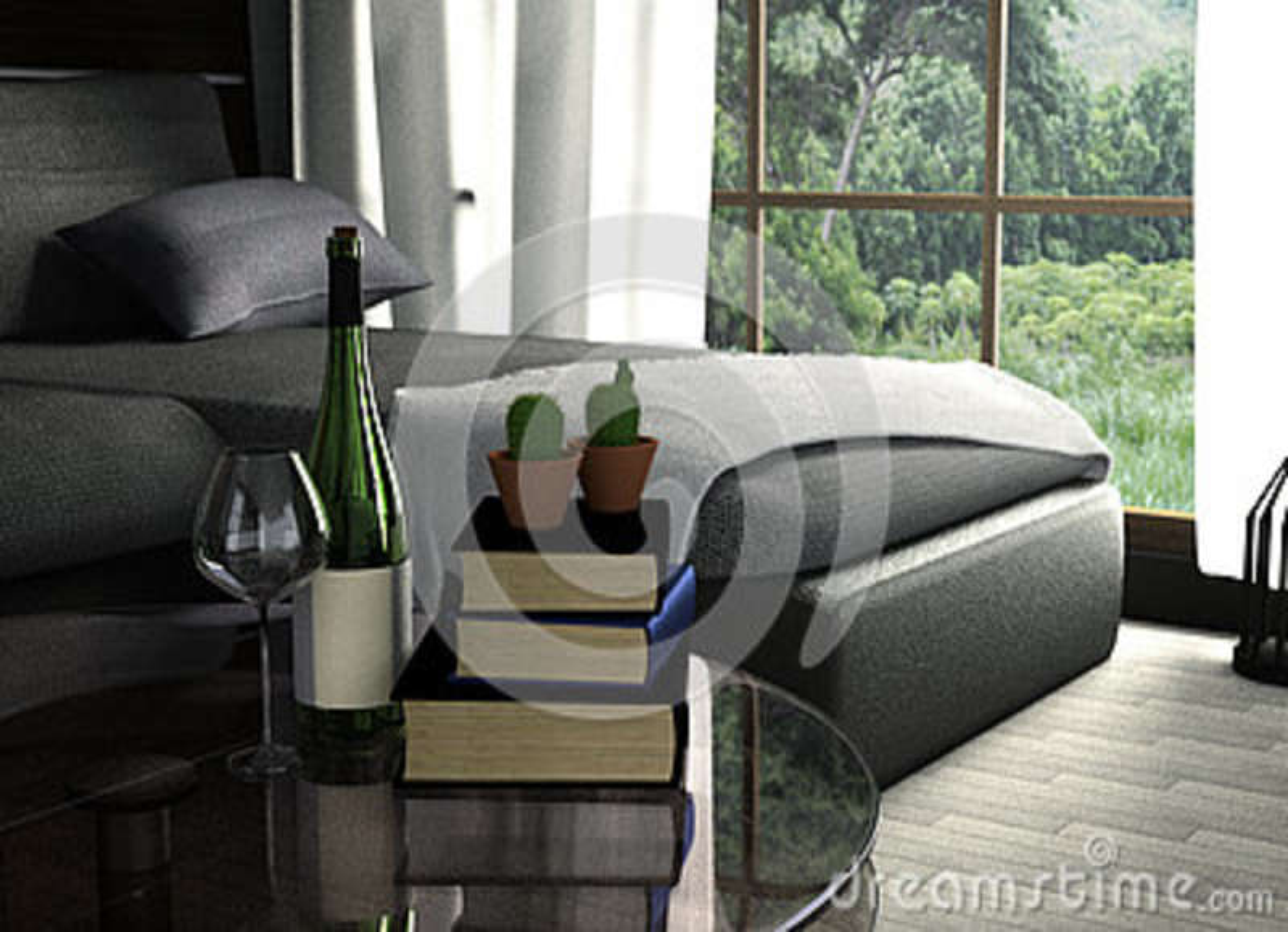 Rendu 3D : Illustration De Conception Intérieure De Salon Style ...