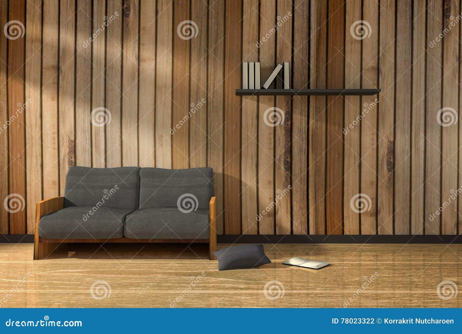 Rendu 3d illustration de pièce en bois intérieure avec le style moderne de meubles de