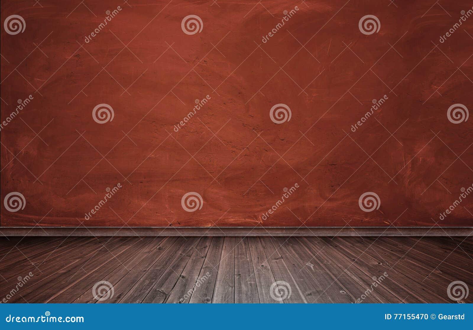 Rendu d intérieur avec le mur en béton rouge et le plancher en bois