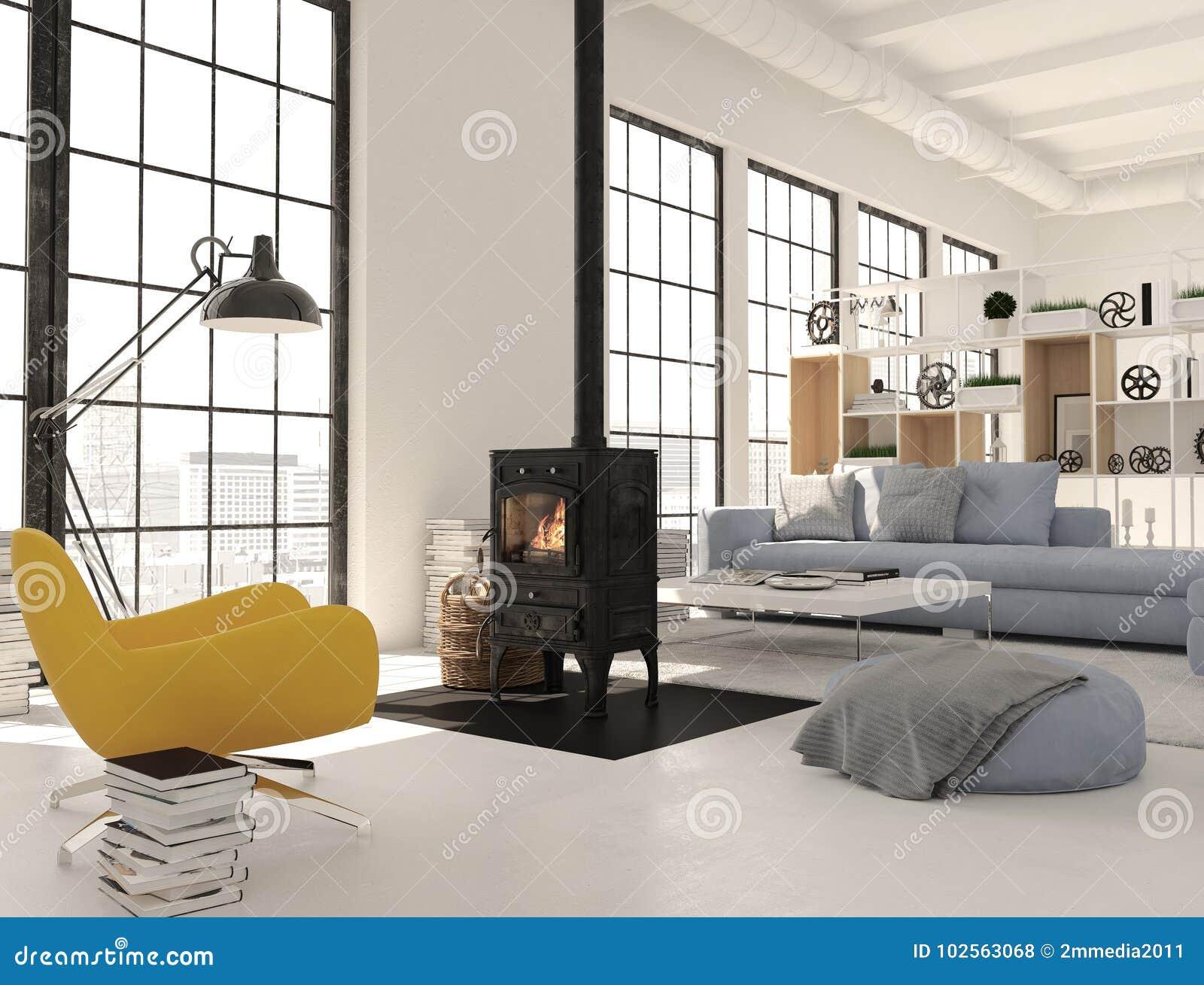Rendu 3d Salon Avec La Cheminée De Fonte En Appartement Moderne De Grenier