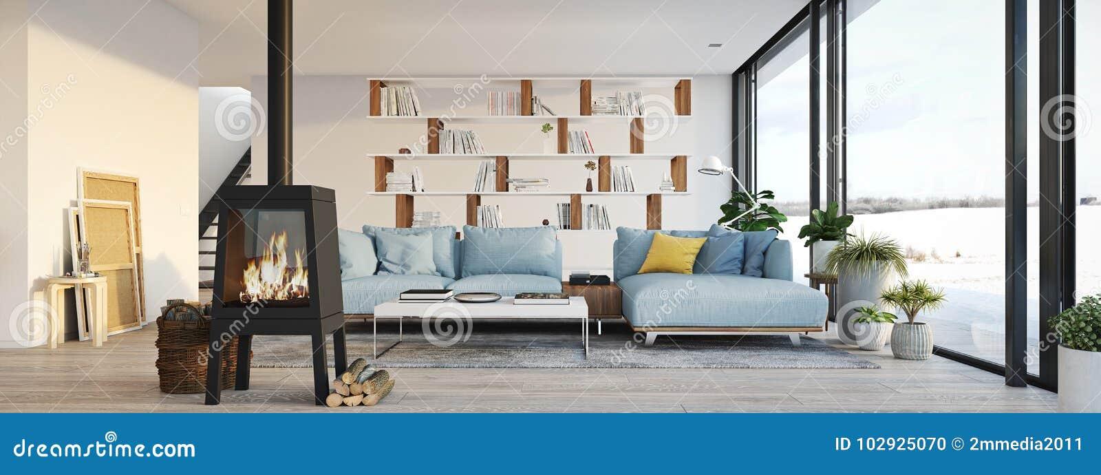 Rendu 3d Salon Avec La Cheminée De Fonte En Appartement ...