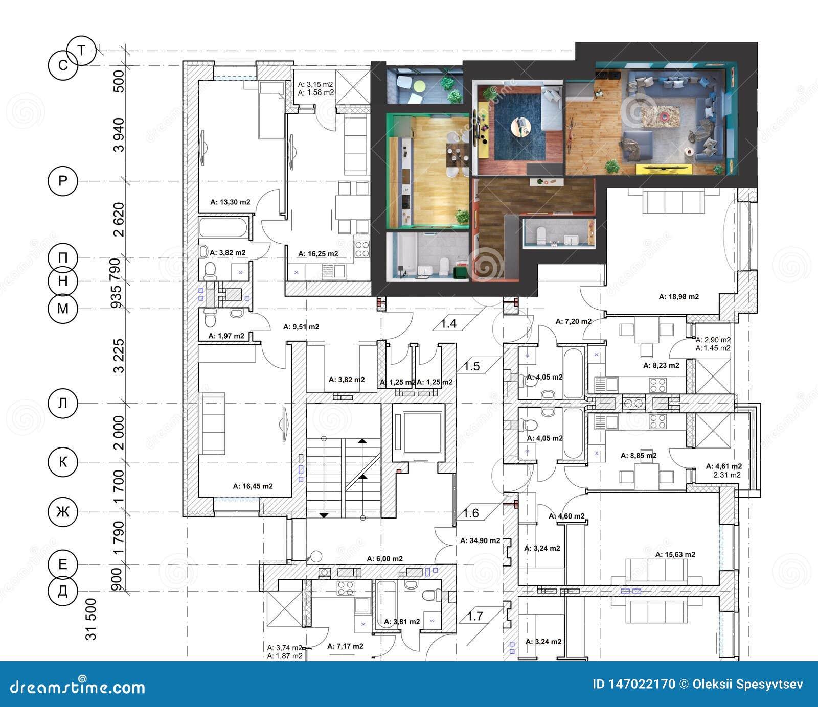 Rendu 3d D\'un Appartement à Deux Chambres Moderne Placé Sur ...