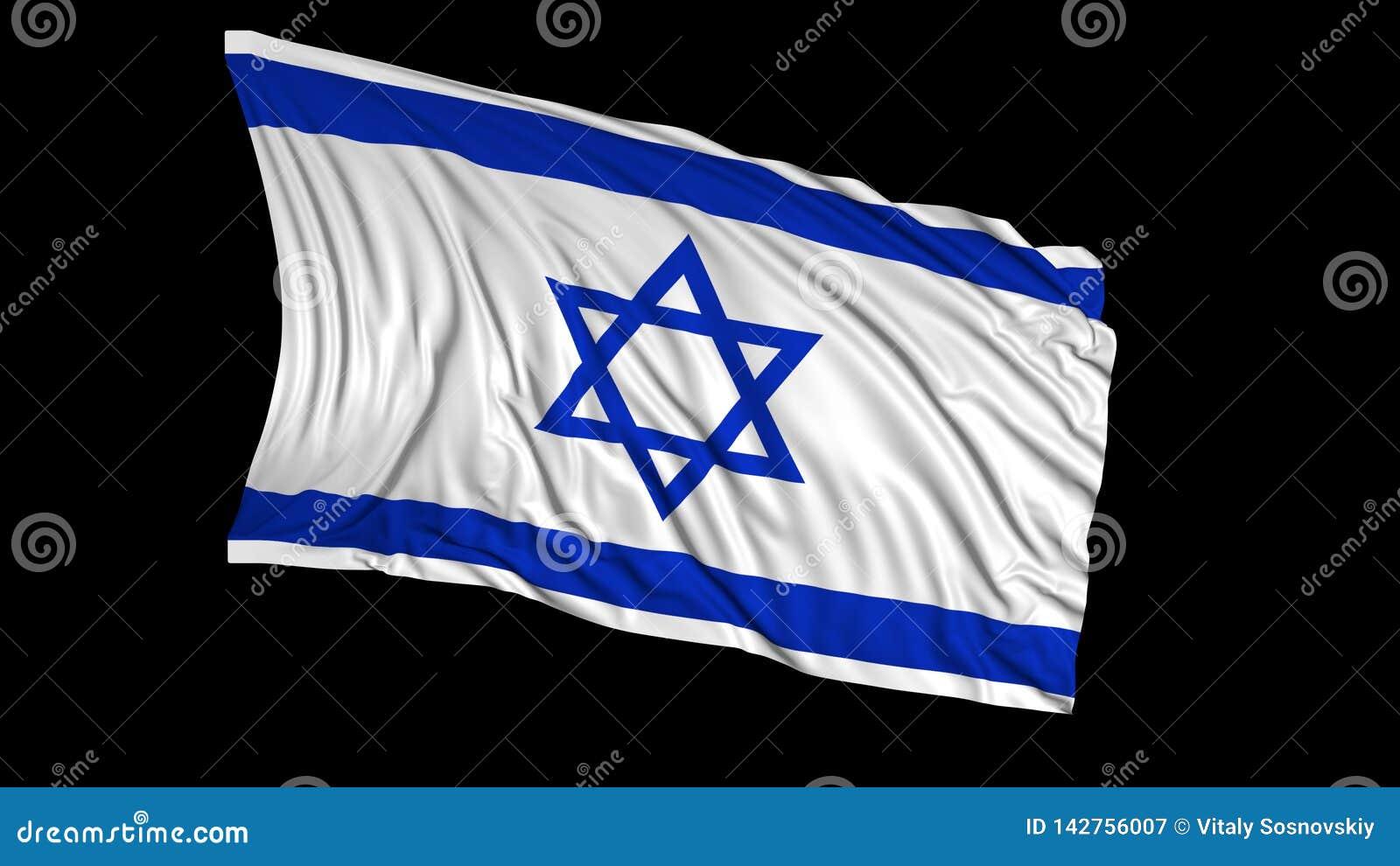 Rendu 3d d un drapeau israélien Le drapeau se développe sans à-coup dans le vent