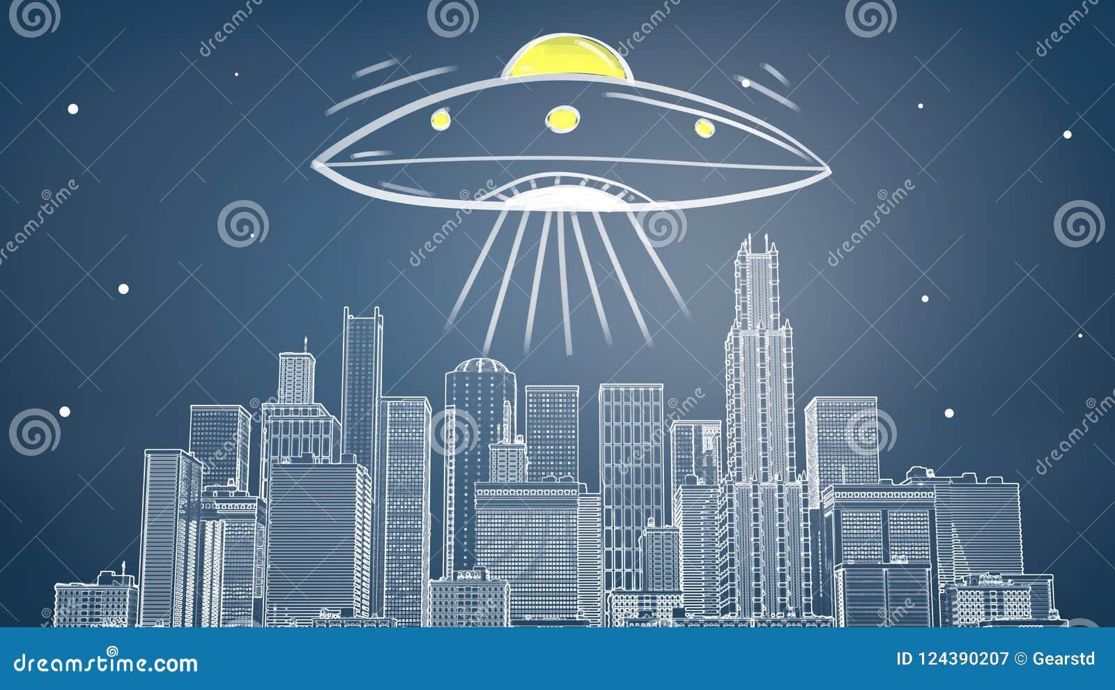Rendu 3d d un paysage urbain dessiné par craie avec beaucoup de gratte-ciel sous une soucoupe volante géante émettant la lumière