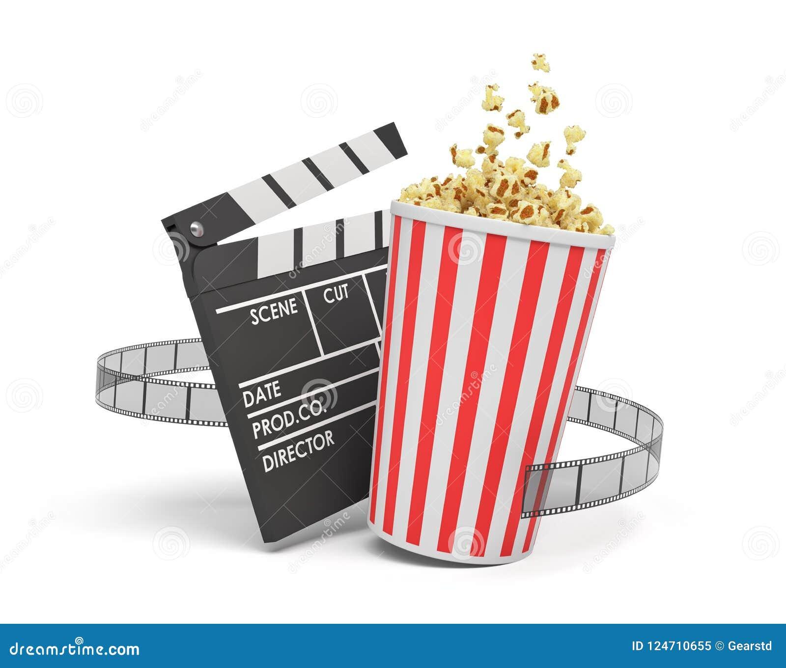 Rendu 3d d un plein seau de maïs éclaté se tenant près d une claquette vide et d une bande de film sur le fond blanc