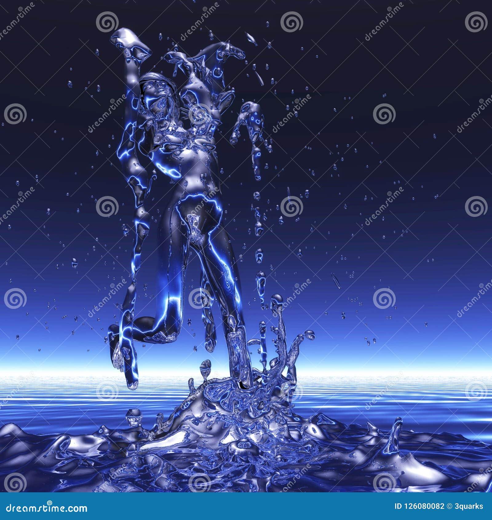 Rendu 3D d une femme dans une douche