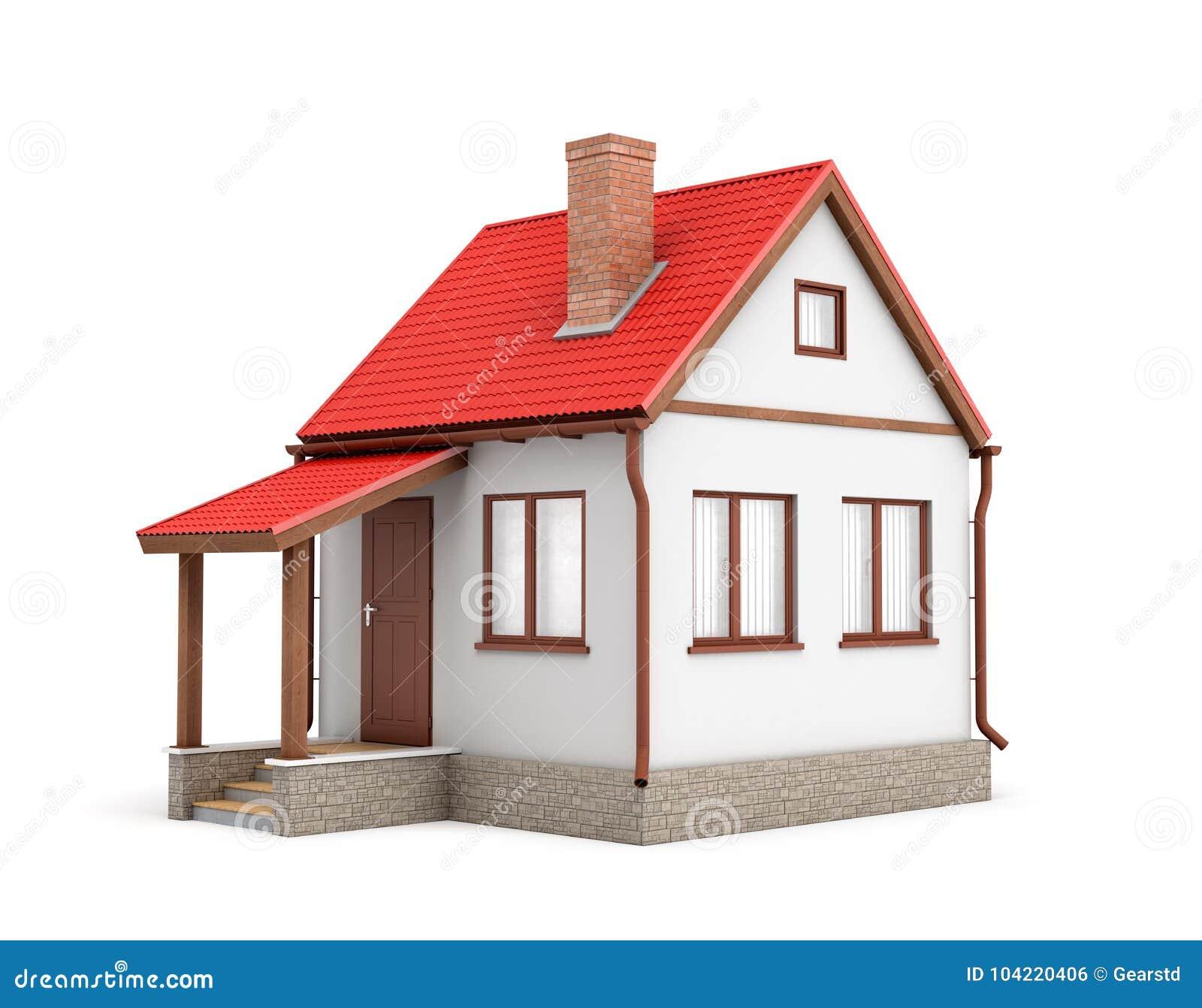 Rendu 3d d une petite maison résidentielle avec une cheminée et un toit rouge sur un fond blanc