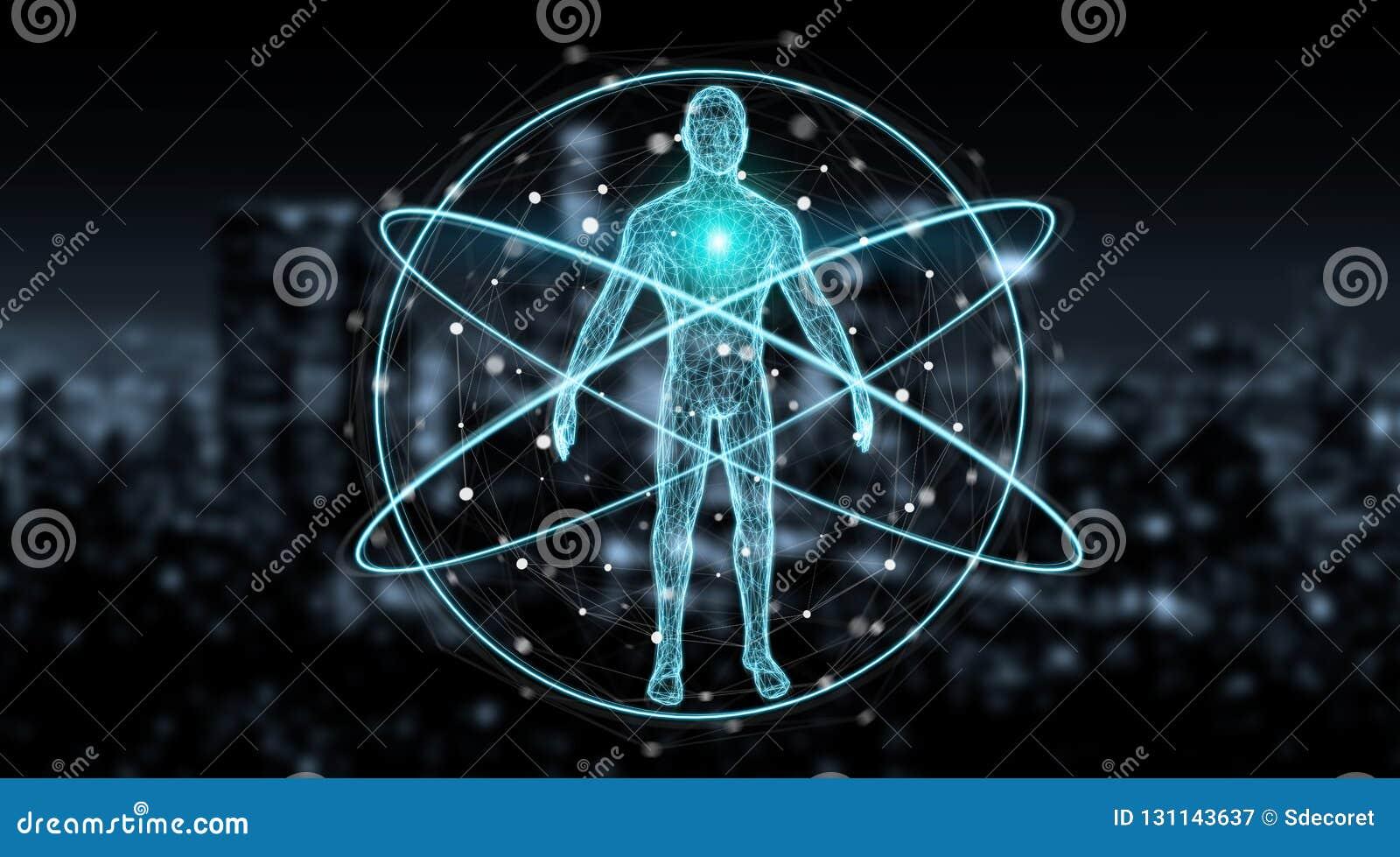Rendu de l interface 3D de fond de balayage de corps humain de rayon X de Digital