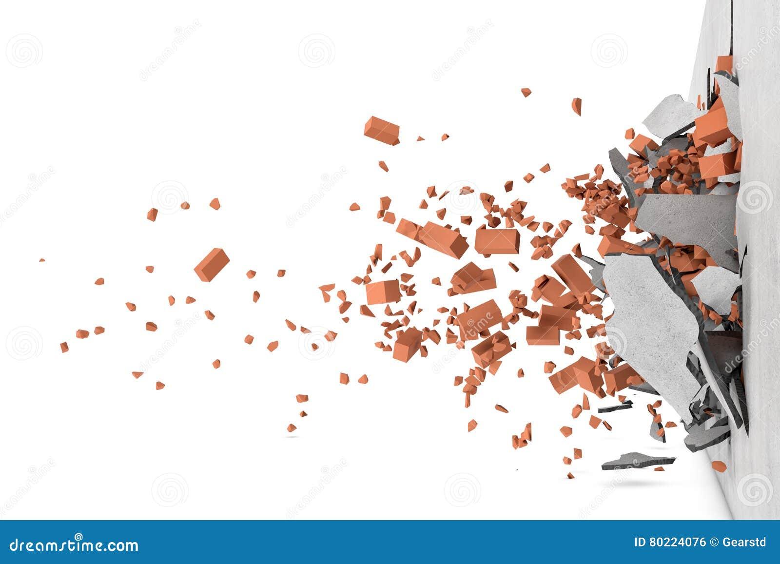 Rendu de mur cassé en béton avec les briques rouges rouillées et leurs les morceaux volant à part après fracas