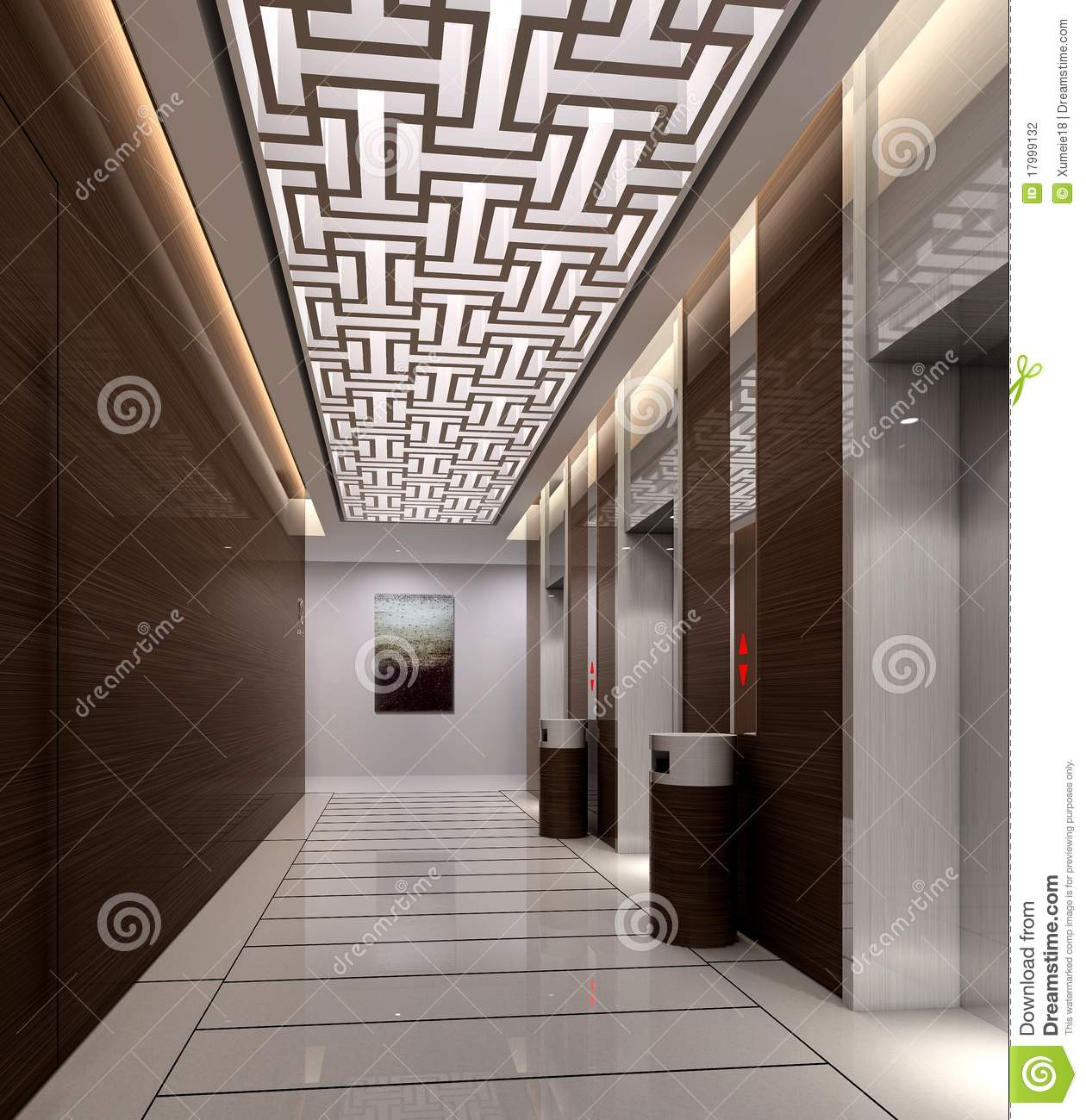 Rendu du couloir moderne illustration stock. Illustration du ...
