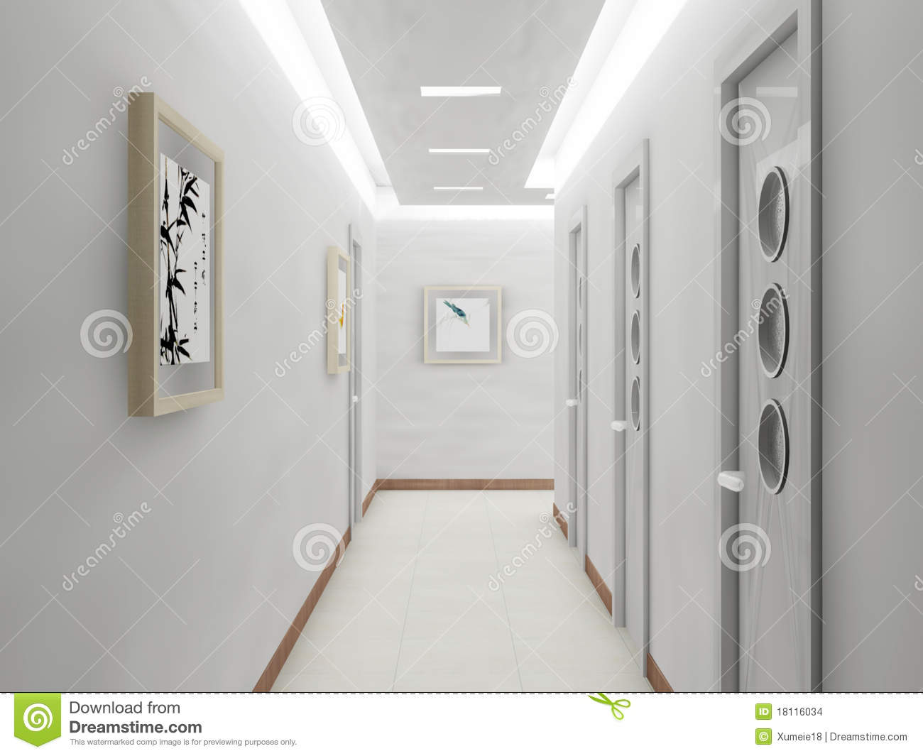 Rendu du couloir moderne illustration stock. Illustration du moderne ...