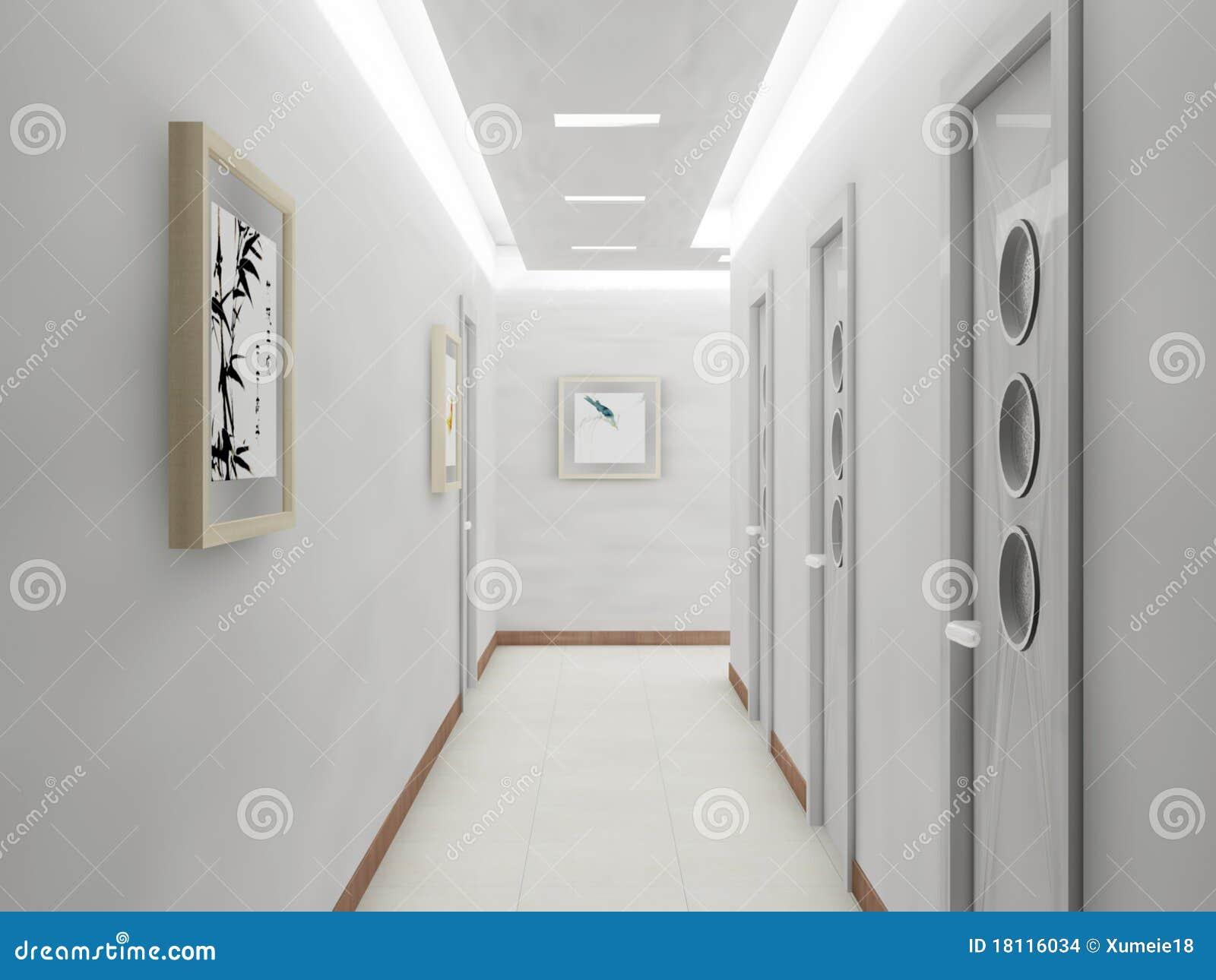 Rendu du couloir moderne illustration stock. Illustration du moderne ...