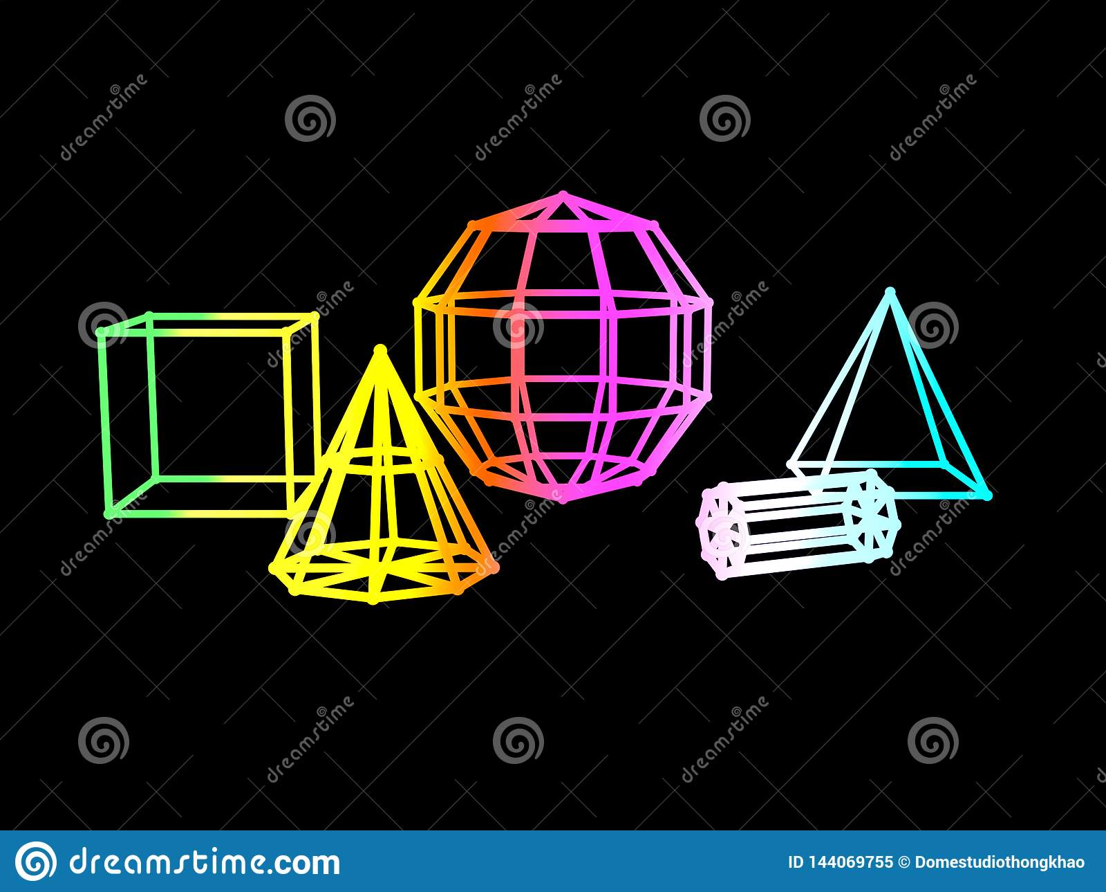 Rendu noir du fond 3d de gradient de forme géométrique abstraite de couleur