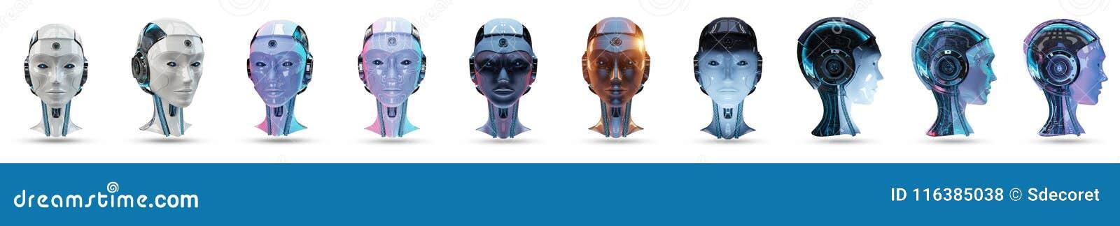 Rendu principal du paquet 3D d intelligence artificielle de cyborg
