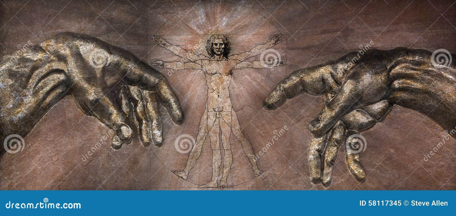 Renesans - Vitruvian mężczyzna i tworzenie Adam