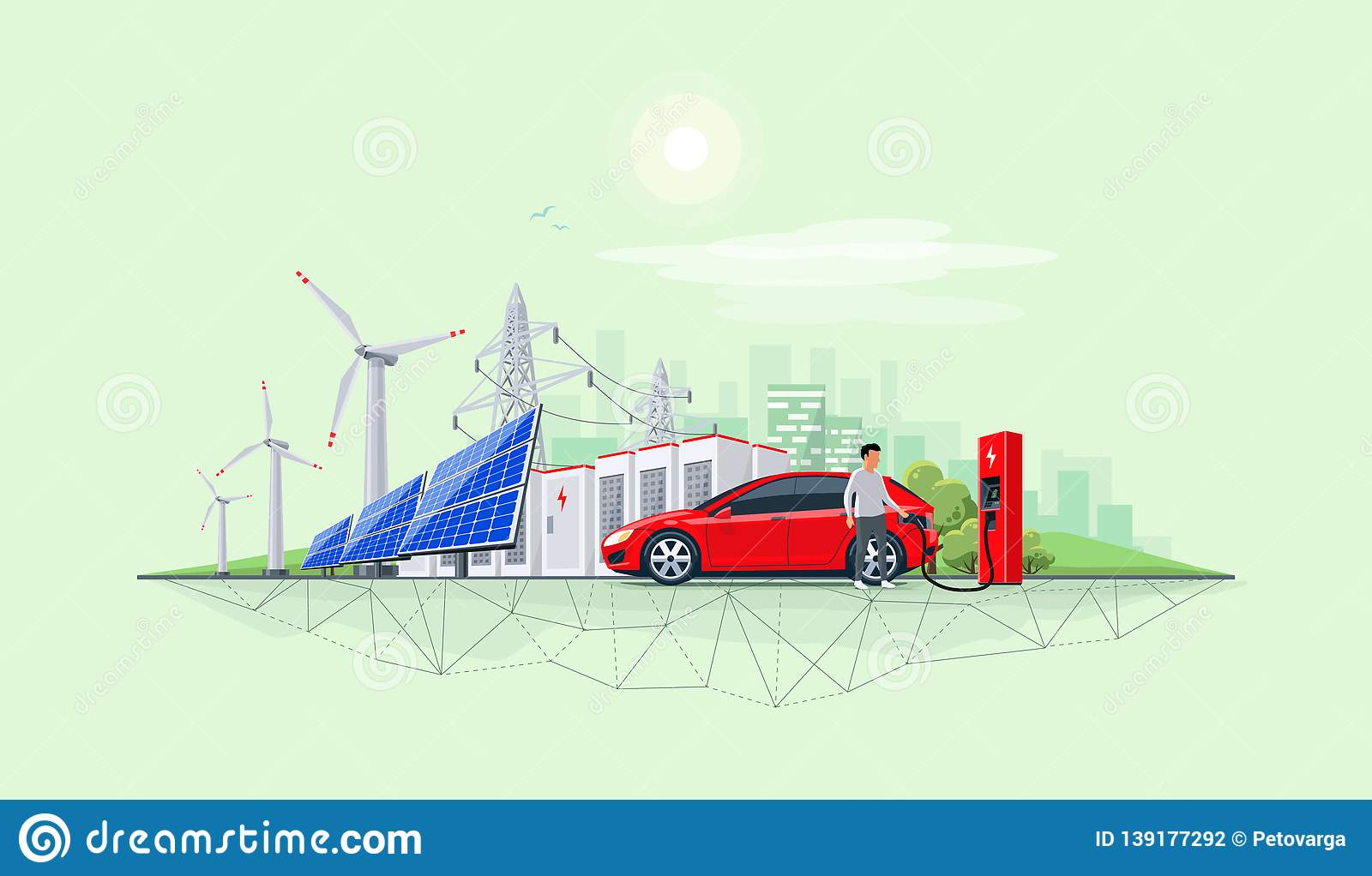 Renewable Energy Battery Storage Power Grid System With