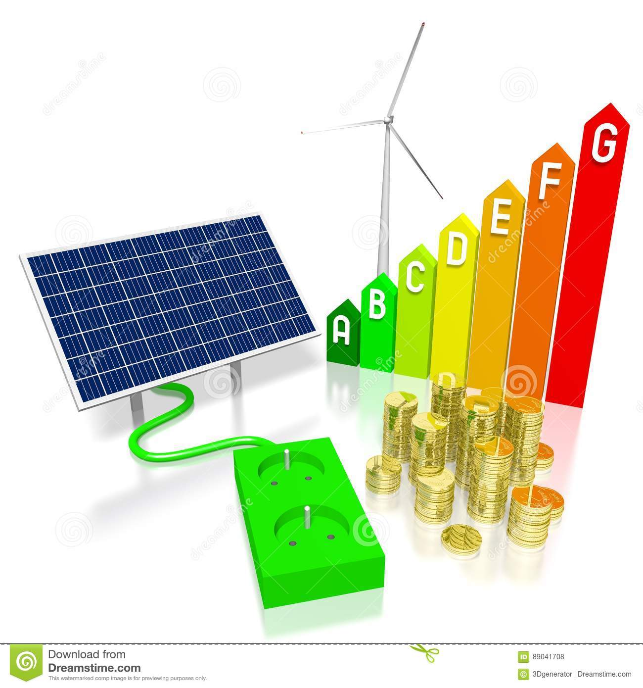 Renewable Energy Concept Stock Illustration Of Green Turbine Wind Generator Wiring Diagram 3d Graphics With Electrical Socket Solar Panel Coins Efficiency Chart Great For Topics Like Alternative Etc