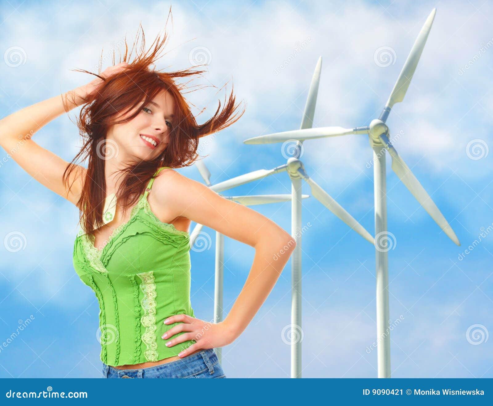 Renewable energy concept. Wind turbines.