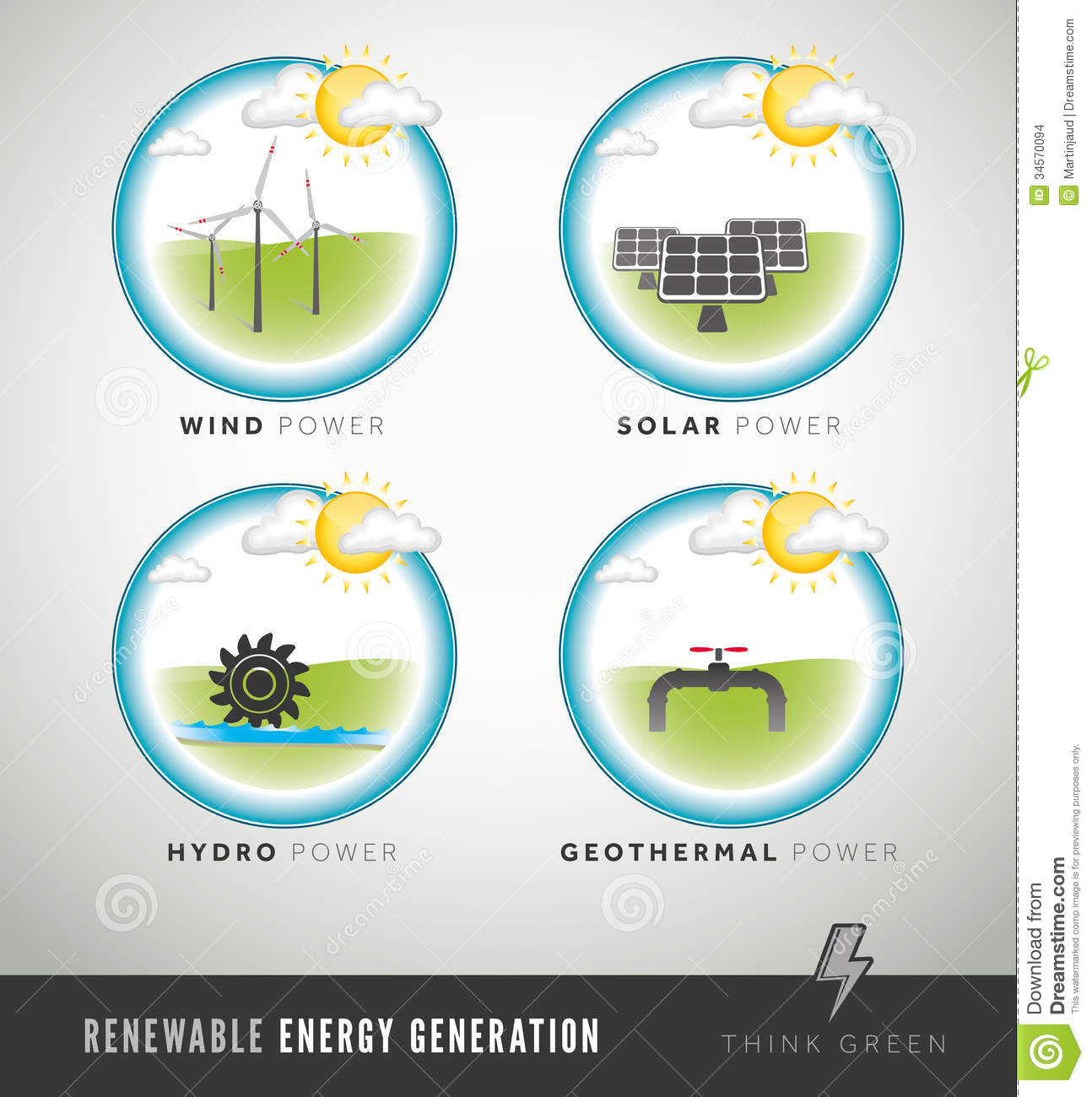 Renewable Energy Generation Icons And Symbols Stock Vector