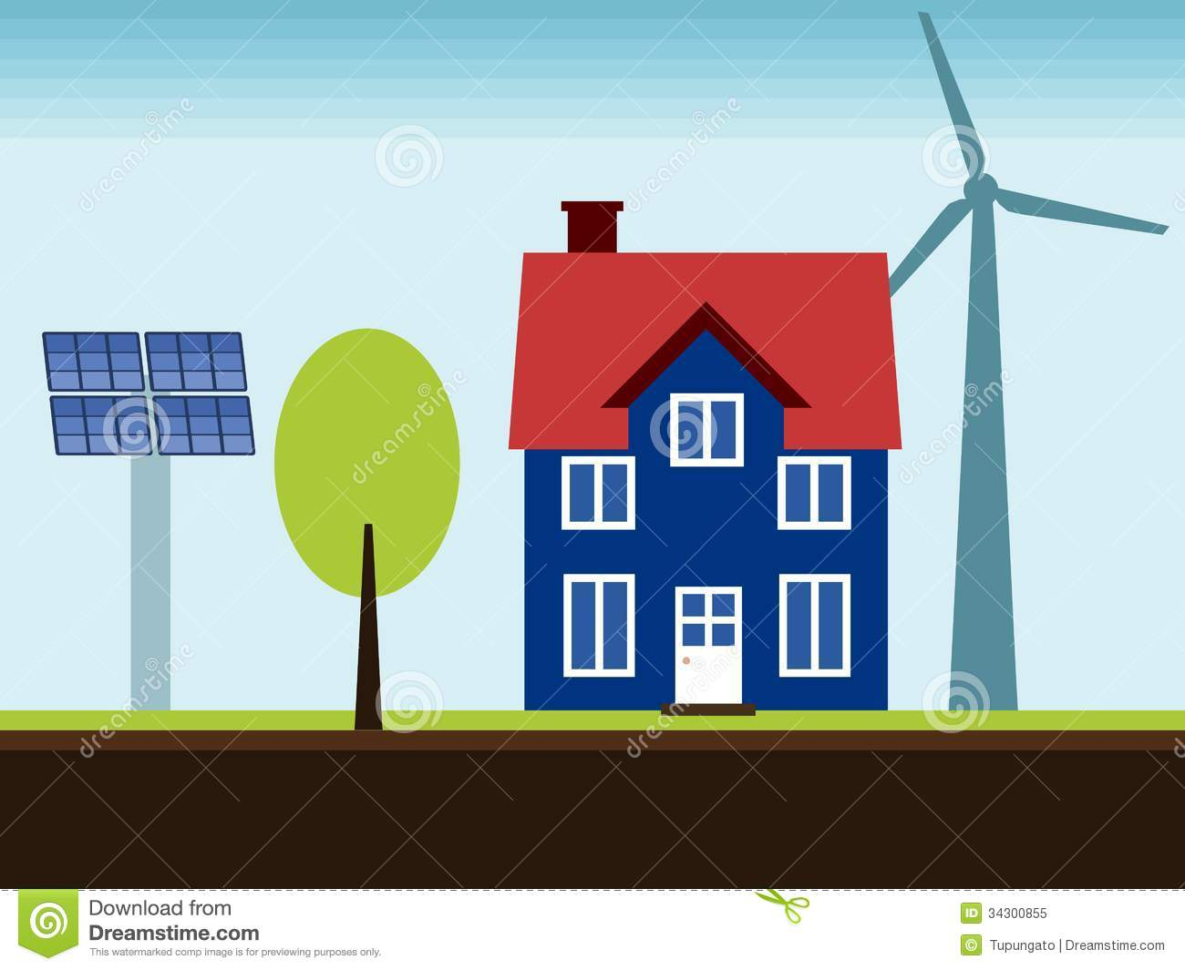 ... renewable energy sources. Wind turbine and solar power panels