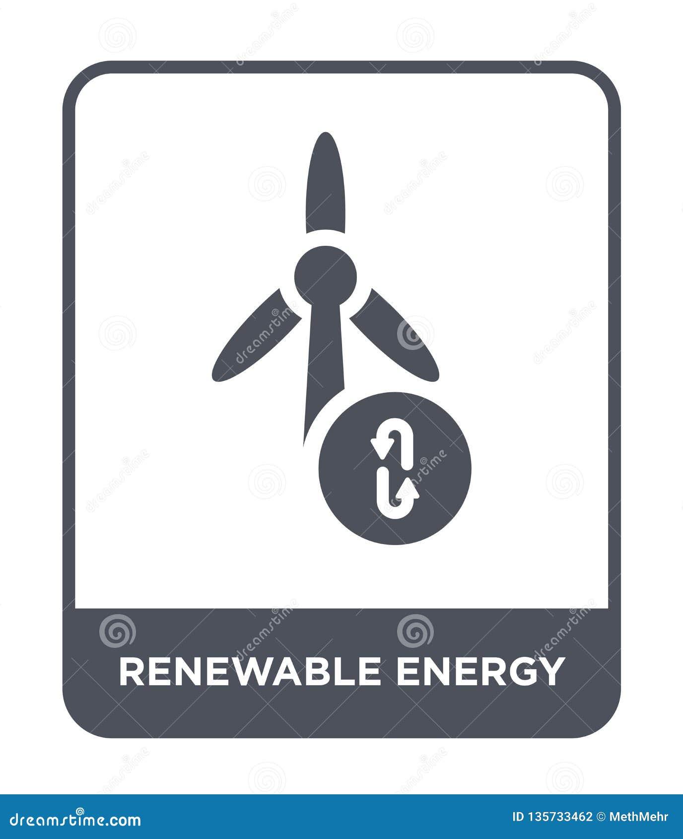 renewable energy icon in trendy design style. renewable energy icon isolated on white background. renewable energy vector icon