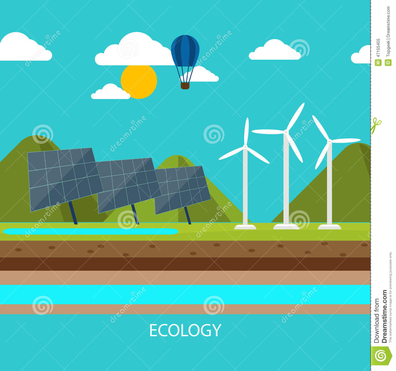 Renewable Energy Like Hydro, Solar And Wind Power Stock Vector - Image ...