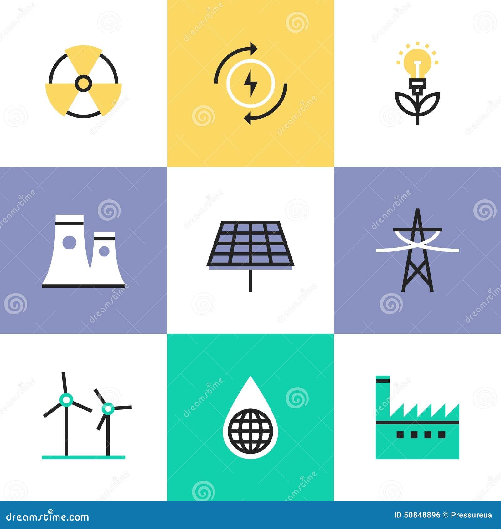 Renewable Energy Production Pictogram Icons Set Stock ...