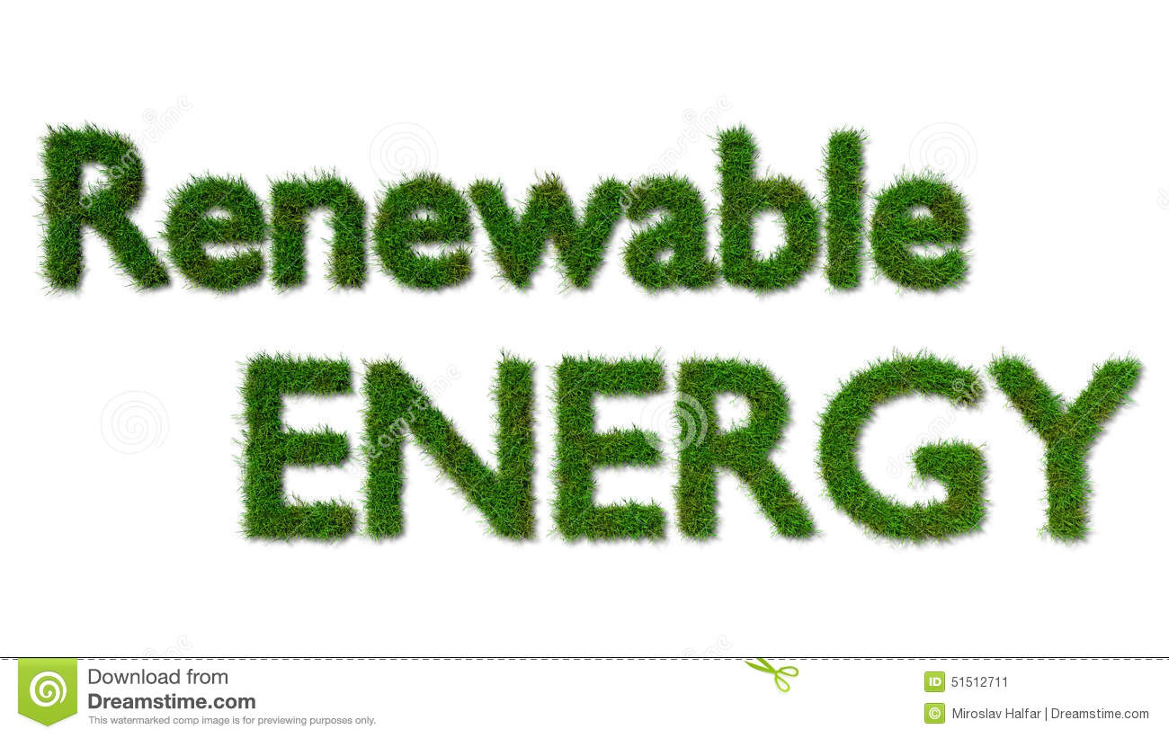 Renewable Energy Sign On Grass Stock Illustration Image