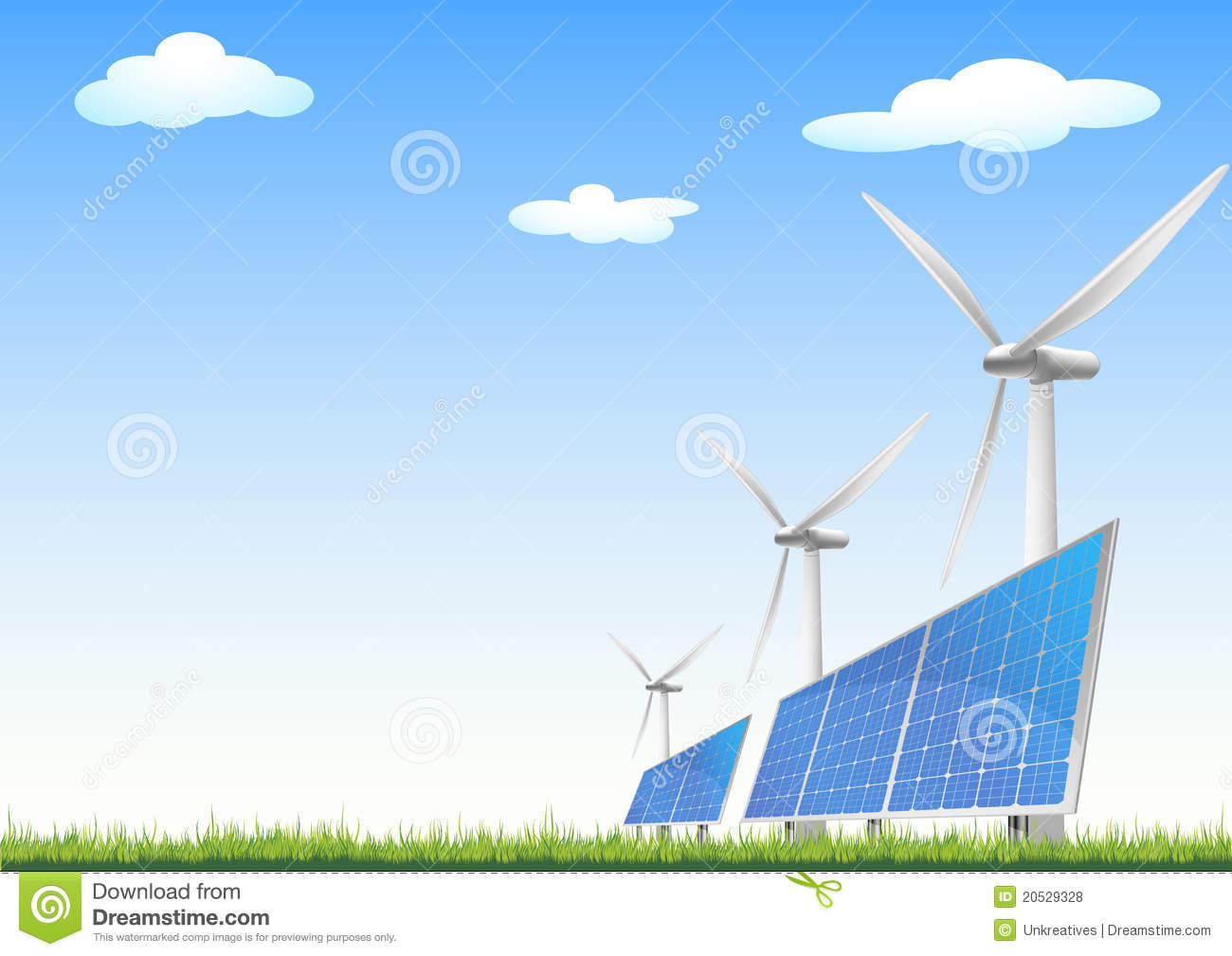 Illustration of panels with solar cells and wind generators on a green ...