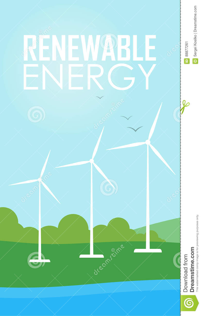 Renewable Energy  Wind Generator Turbines Stock Illustration