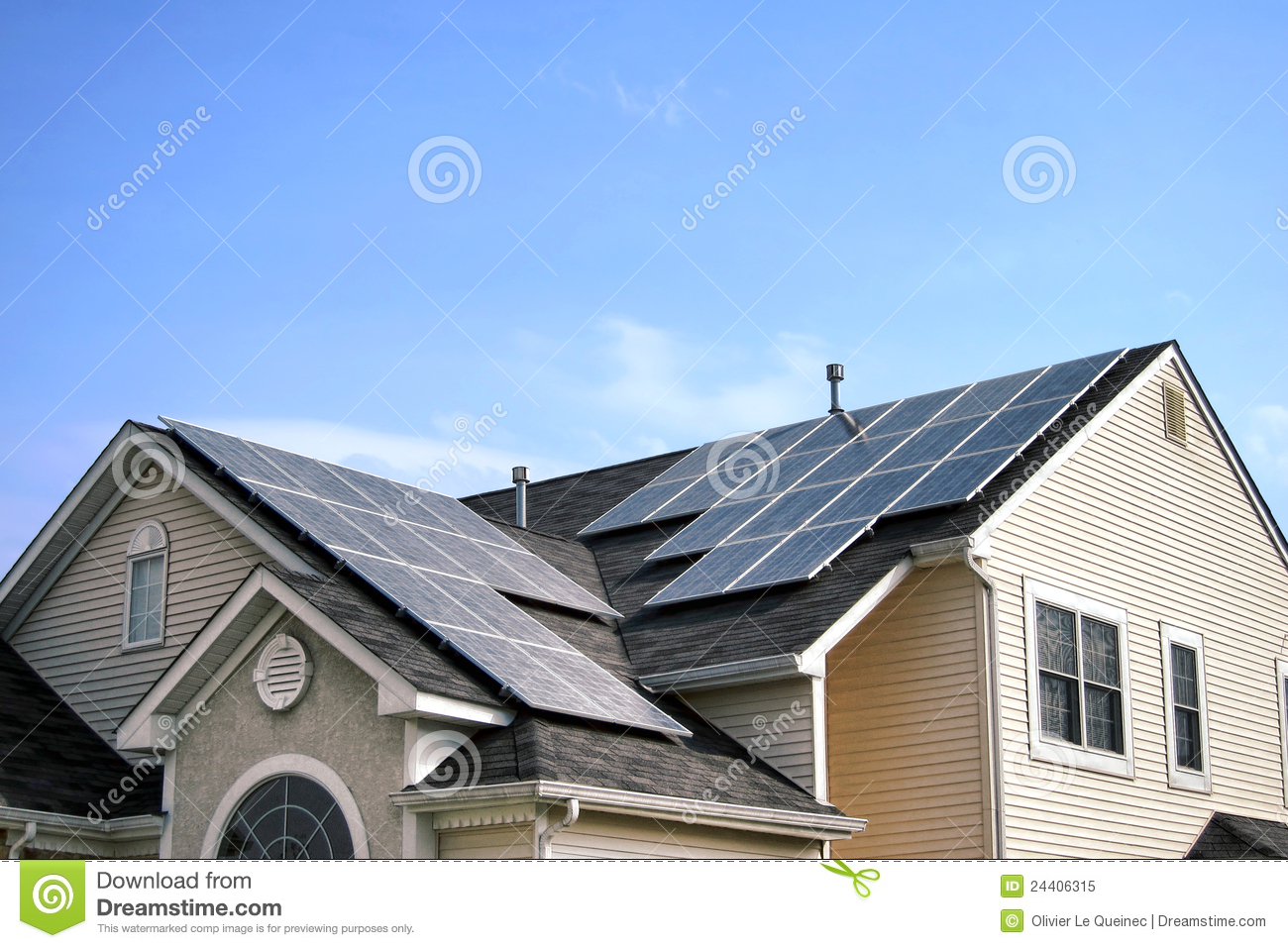 Renewable green energy solar panels on house roof stock for Free house photos