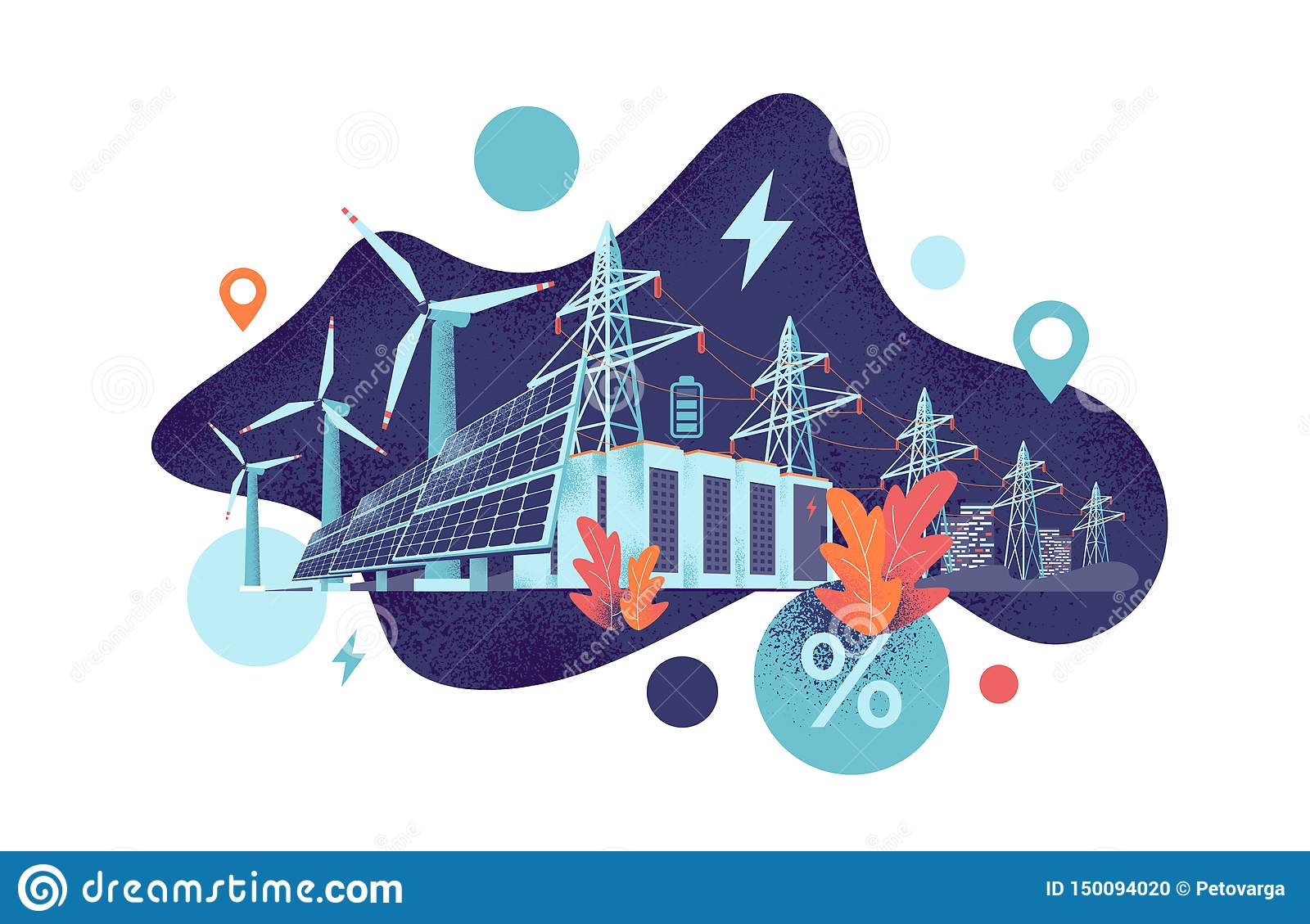 Renewable Solar And Wind Energy Battery Storage Smart Grid System With Power Lines Stock Vector Illustration Of Distribution Electric 150094020