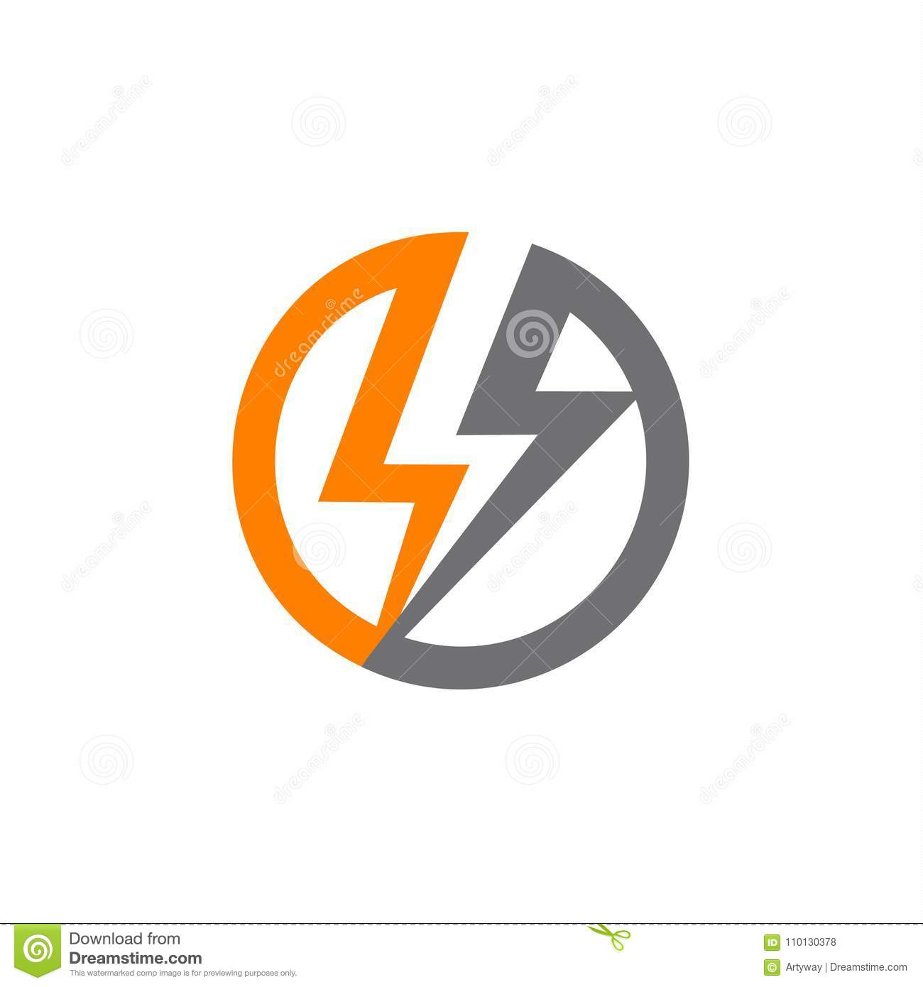 Renewable Sources Of Energy, Lightning In Circle Abstract Vector ... for Lightning Logo In Circle  56bof