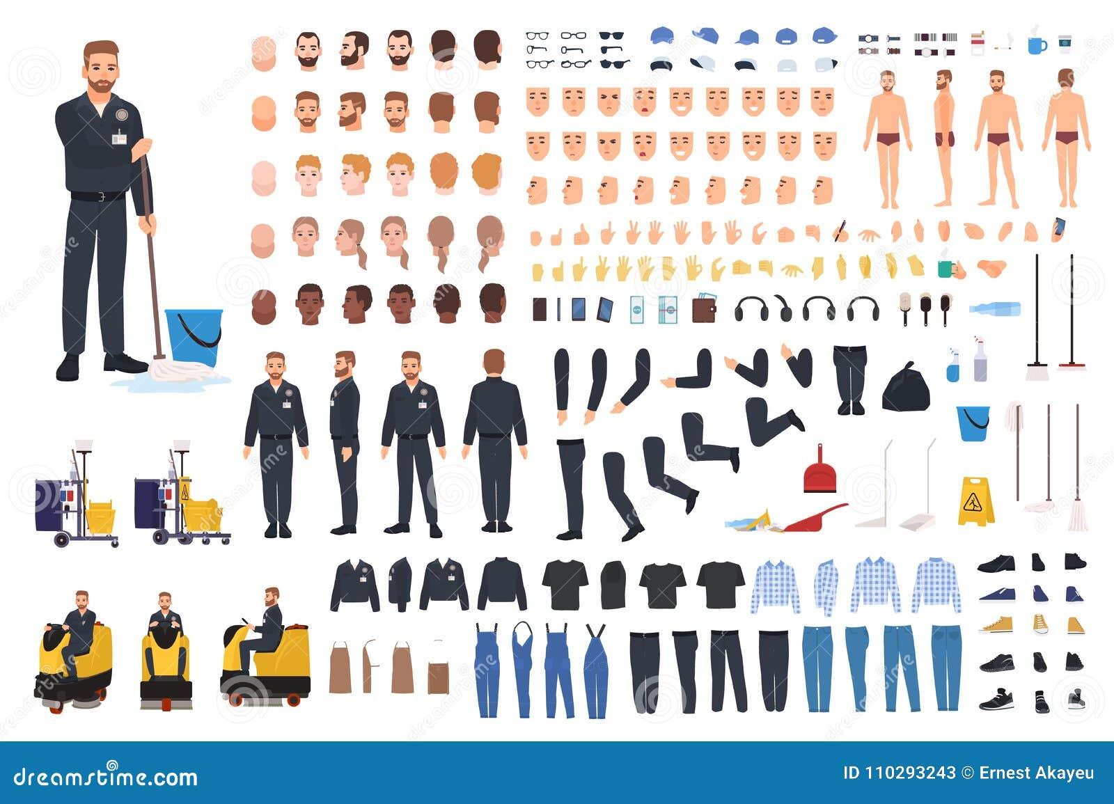 Rengörande tjänste- arbetarskapelseuppsättning eller konstruktör Packe av dörrvaktkroppsdelar, gester, likformig och kläder