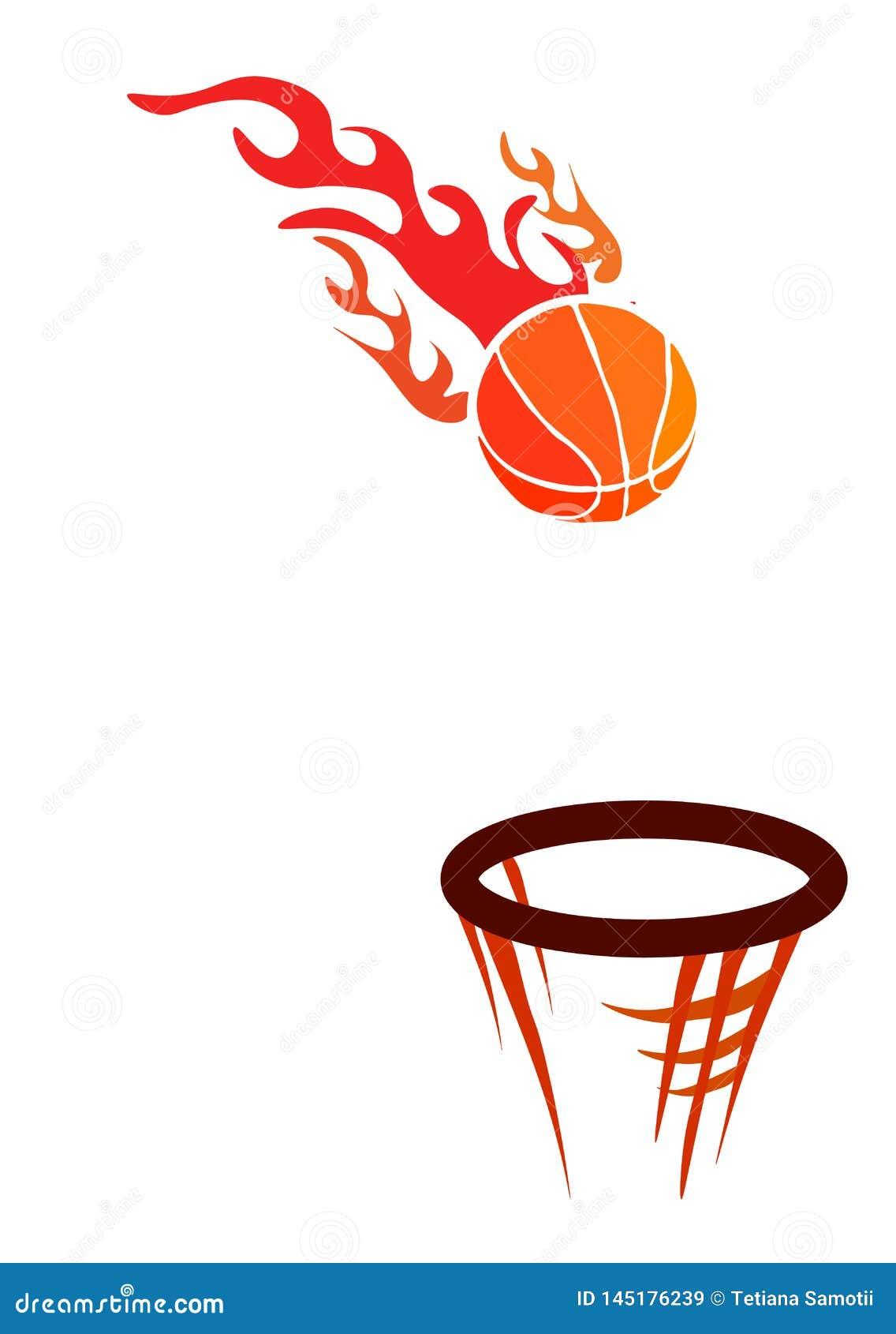 Reng?ringsduk Vektorlogo för en basketklubba som består av boll för basket för orange brandflamma en brinnande i en korg med det