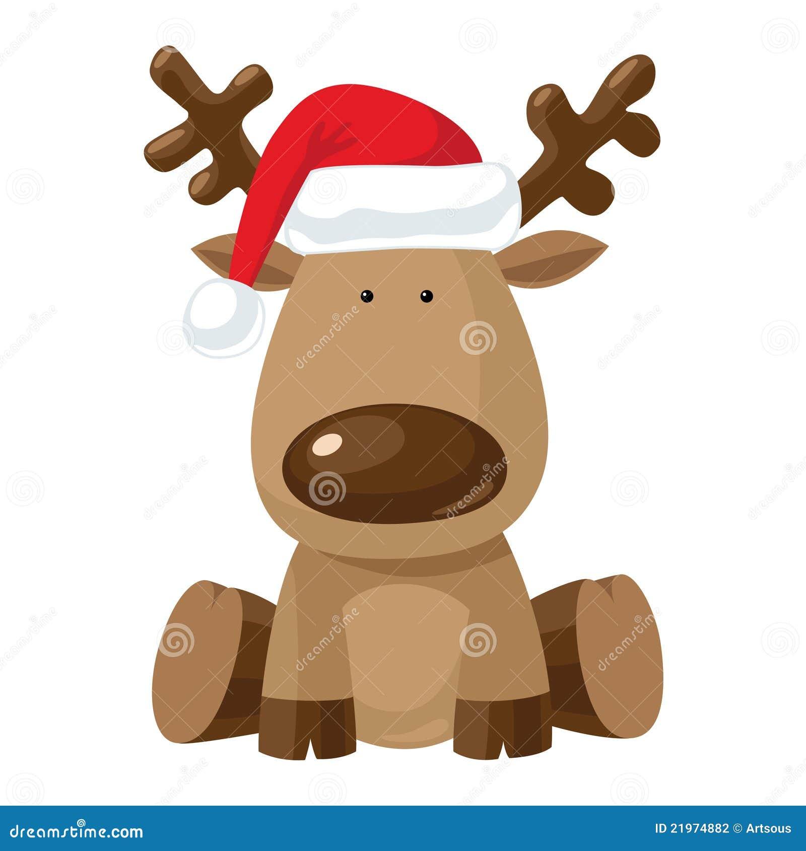 Immagini Di Renne Di Natale.Renna Di Natale In Cappello Di Colore Rosso Del S Della