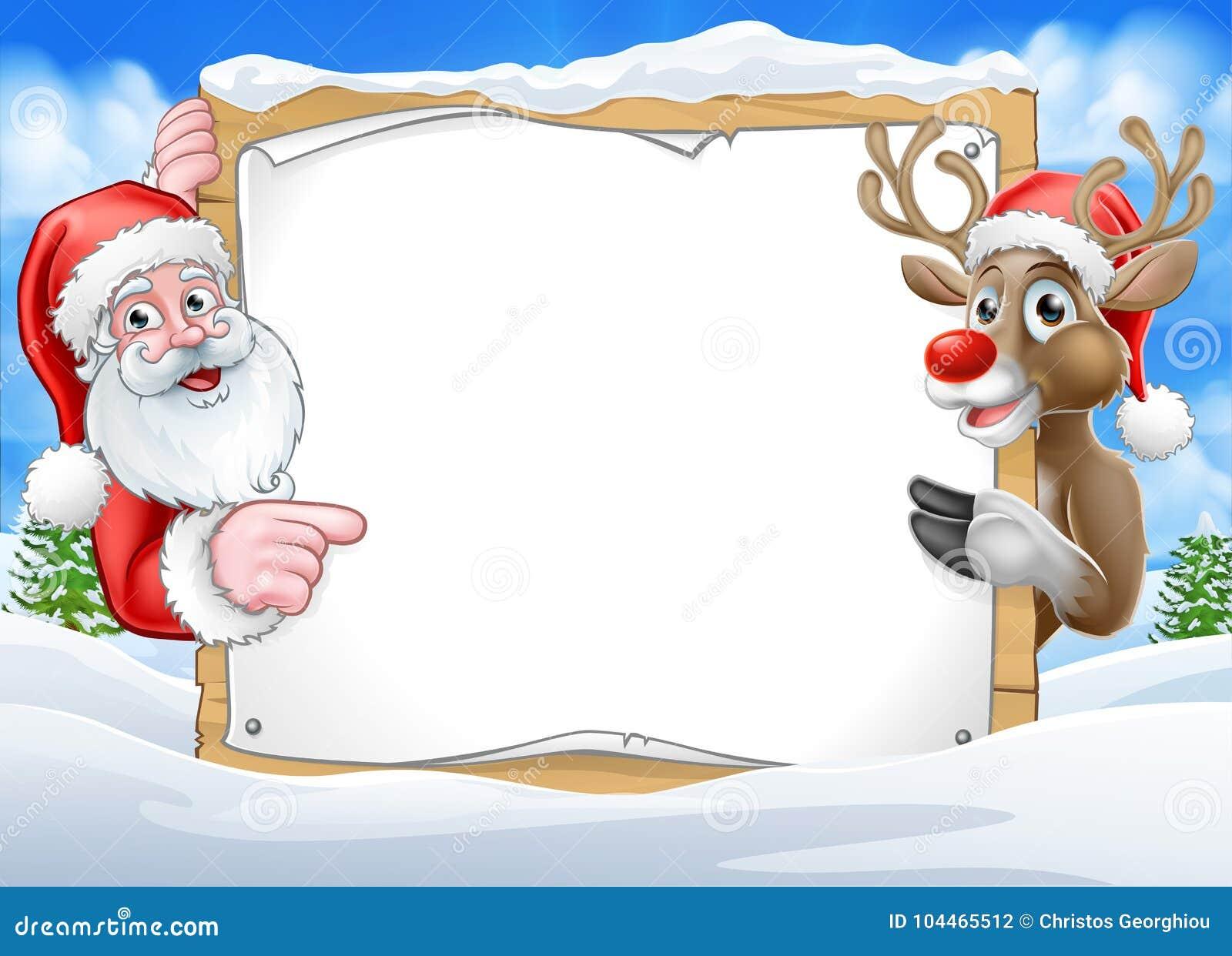 Renne et Santa Background de signe de Noël