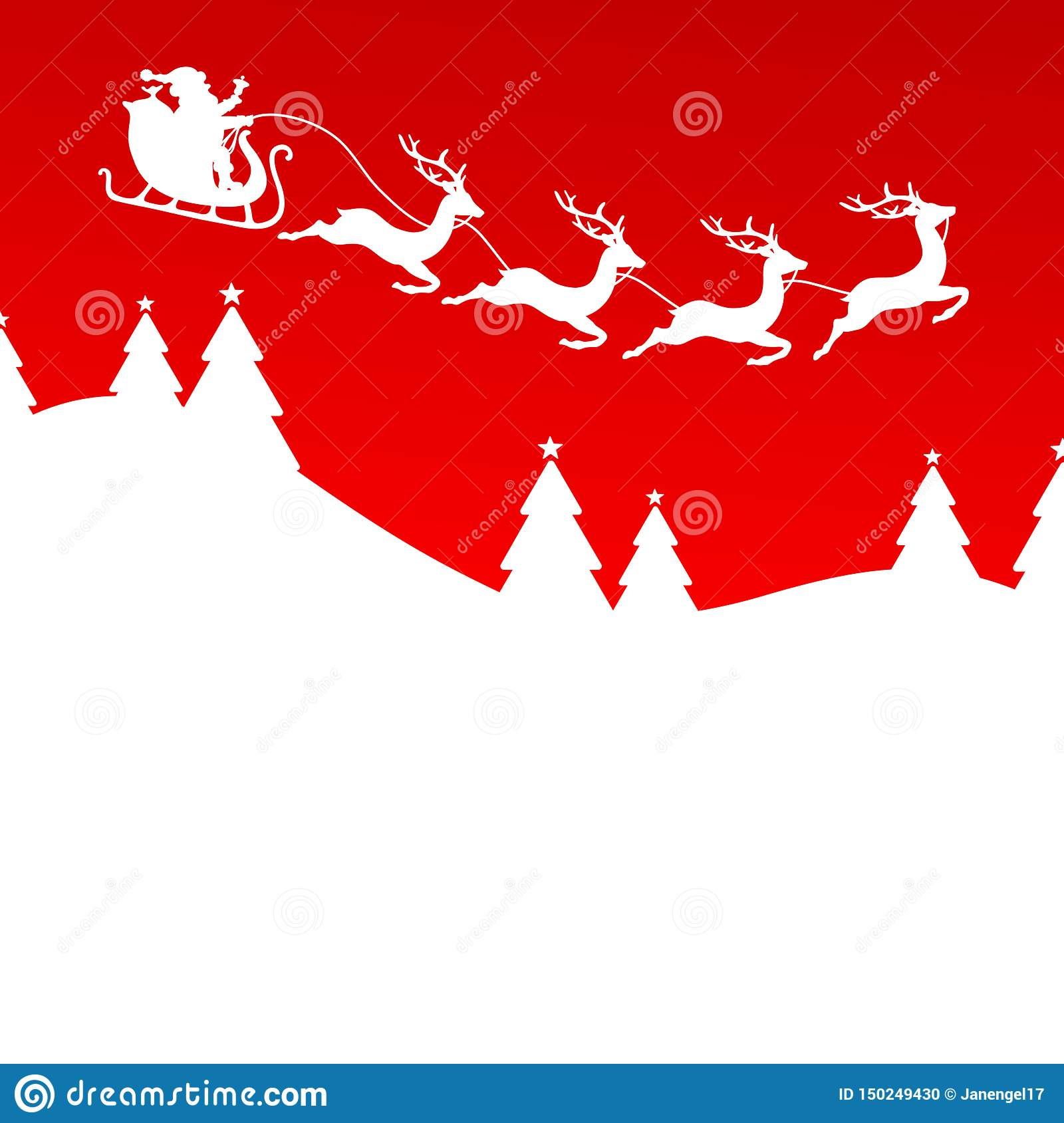 Renne Forest Red di Santa And Christmas Sleigh Four