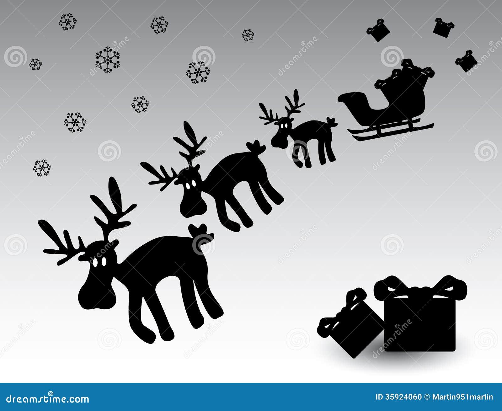 Renne Noir Et Blanc Eps10 De Noël Illustration De Vecteur