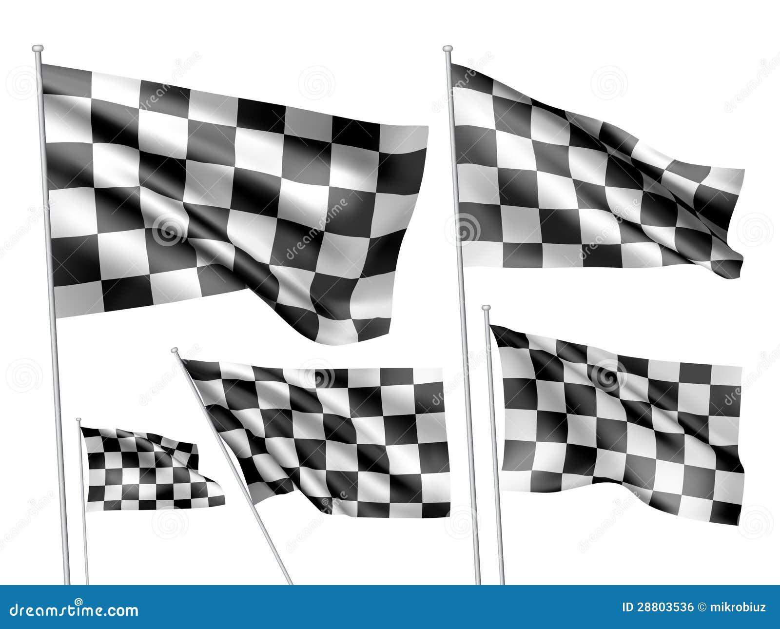 Rennende geruite vectorvlaggen