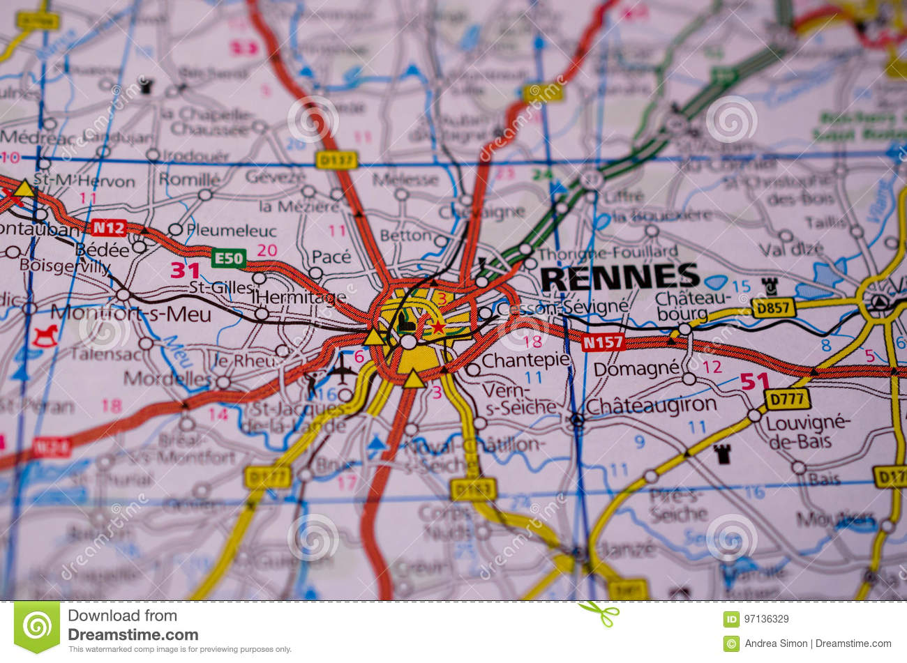 Rennes Le Chateau Mapa.Rennes On Map Stock Image Image Of Tourist Plan Macro 97136329