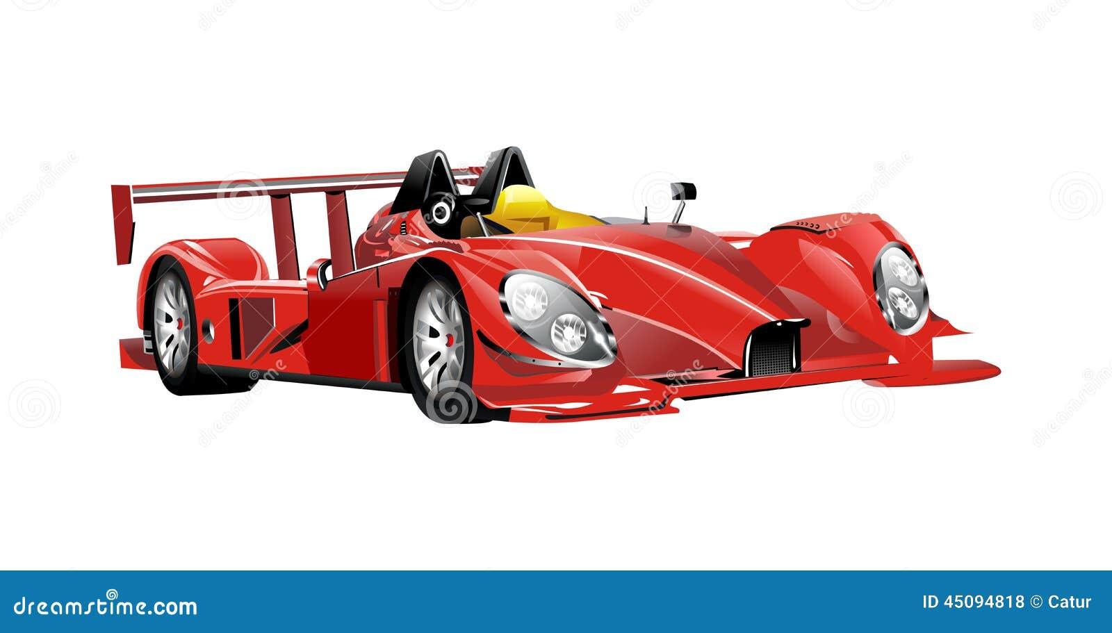 Rennwagen und Flaggen der roten Spinne des Vektors