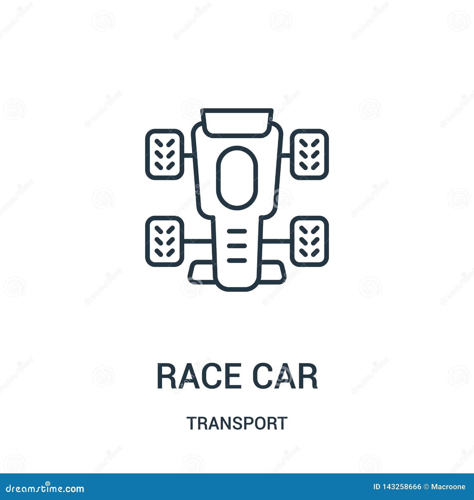 Rennwagenikonenvektor von der Transportsammlung D?nne Linie Rennwagenentwurfsikonen-Vektorillustration