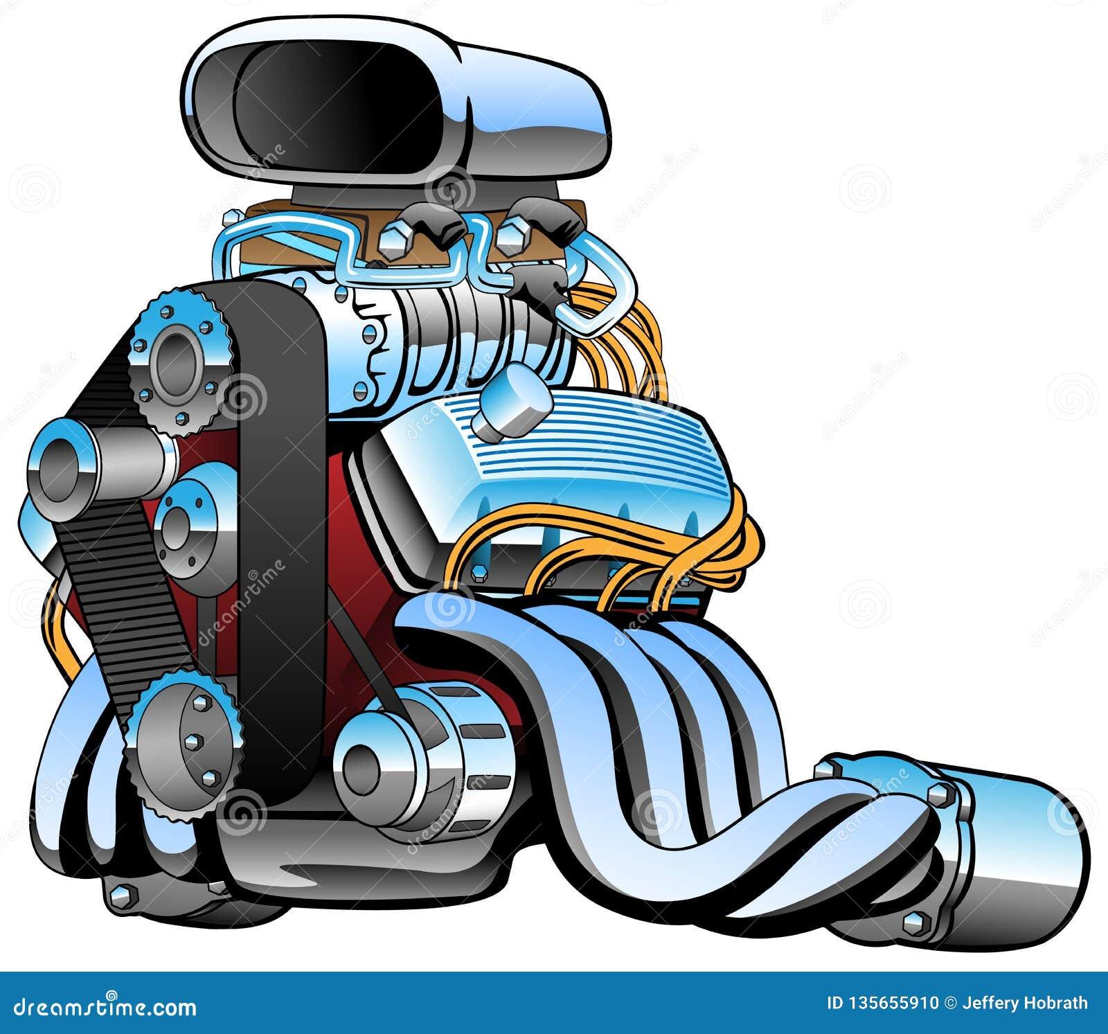 Rennwagenmaschinenkarikatur des beheizten Stabes, viele Chrom, enorme Aufnahme, fette Auspuffrohre, Vektorillustration