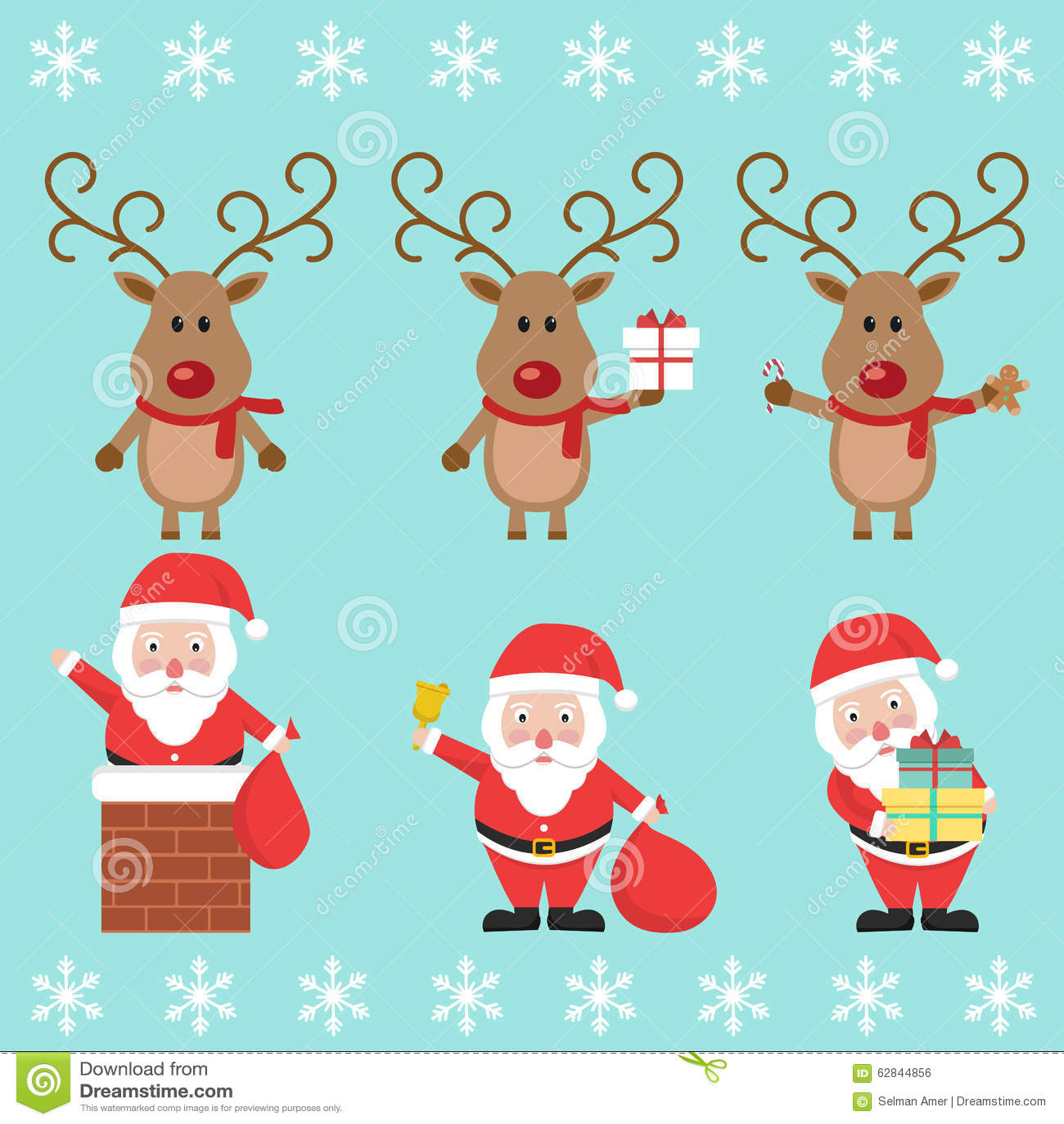 reno de pap noel y de la navidad personaje de dibujos animados divertido ilustracin del vector