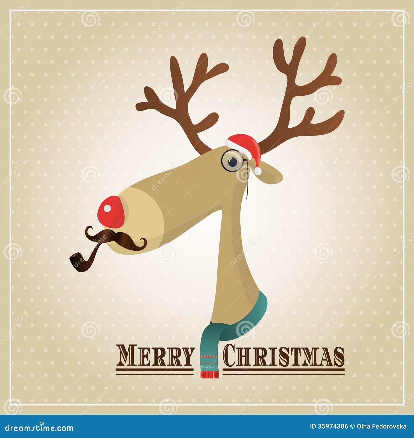 Reno del ejemplo del vector, tarjeta de la Feliz Navidad