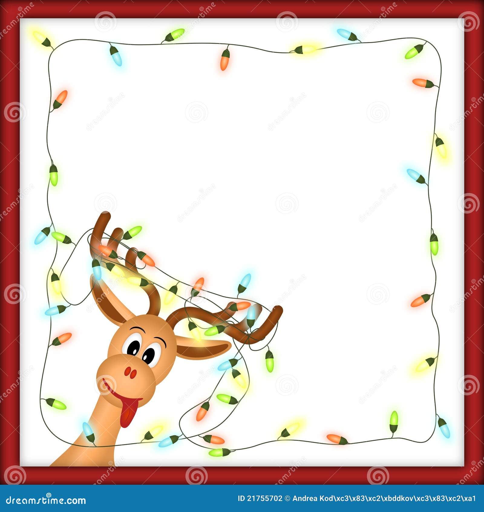 Reno divertido con las luces de la navidad en marco rojo - Renos de navidad con luces ...